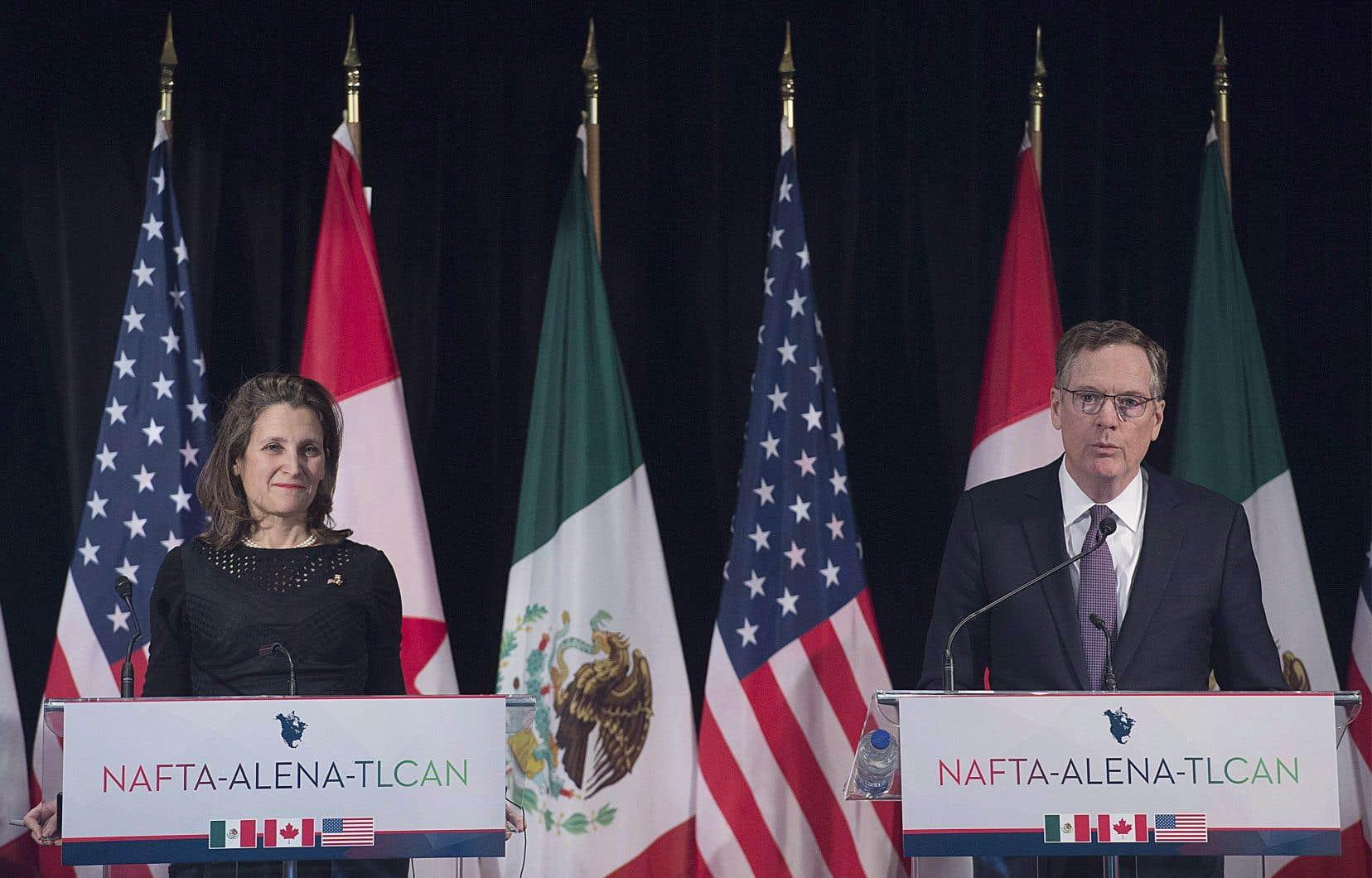 La ministre canadienne des Affaires étrangères, Chrystia Freeland, et le représentant américain pour le commerce, Robert Lighthizer