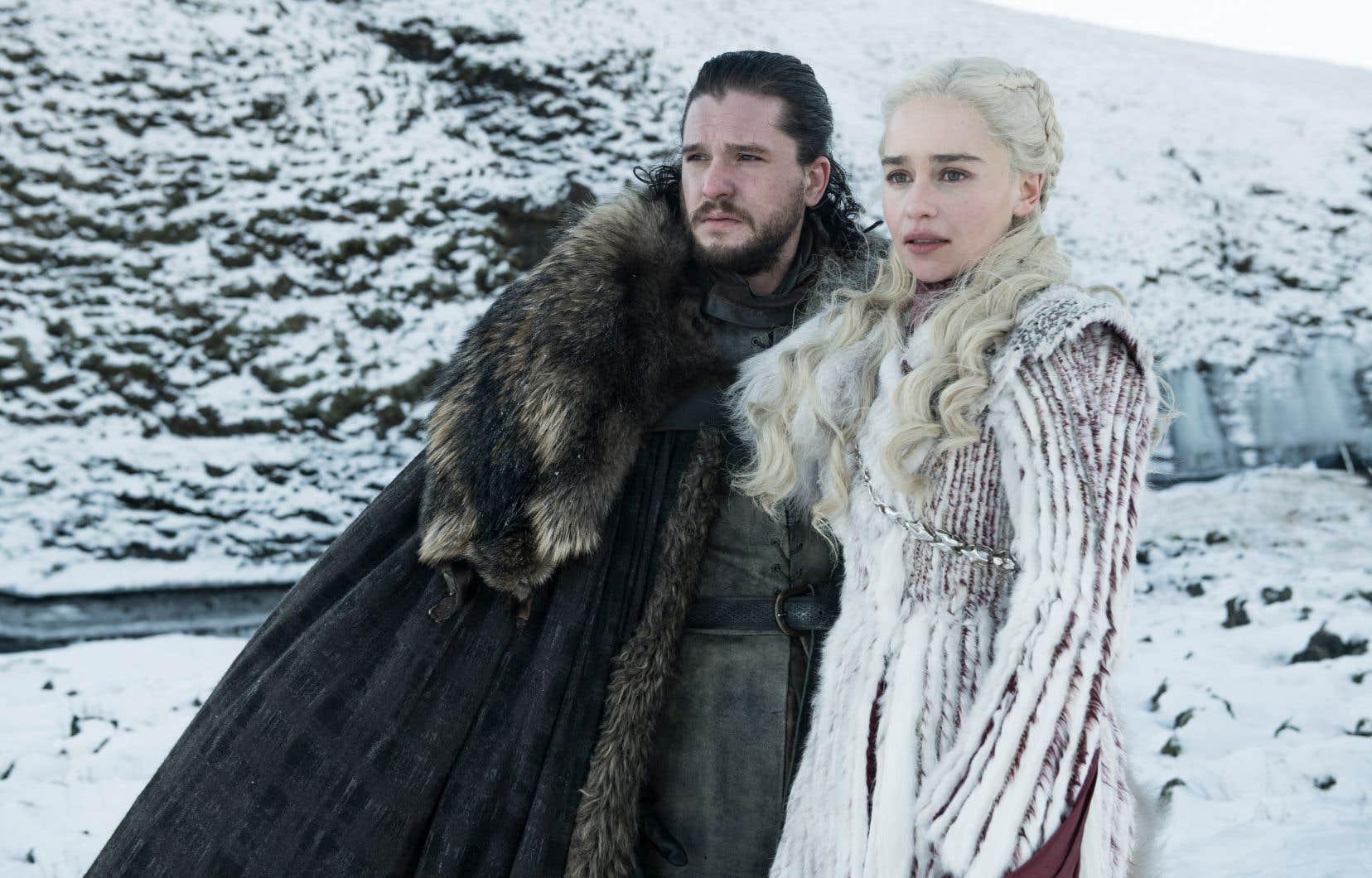 Jon Snow (Kit Harington) et Daenerys Targaryen (Emilia Clarke), principaux personnages de la série