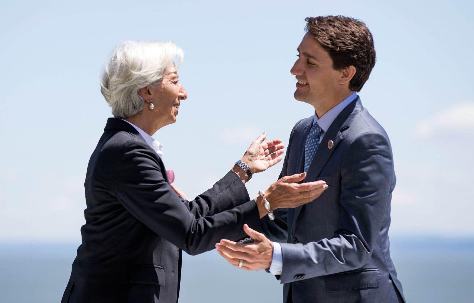 La directrice générale du FMI, Christine Lagarde, et le premier ministre canadien, Justin Trudeau, en juin 2018 à La Malbaie, à l'occasion de la réunion du G7