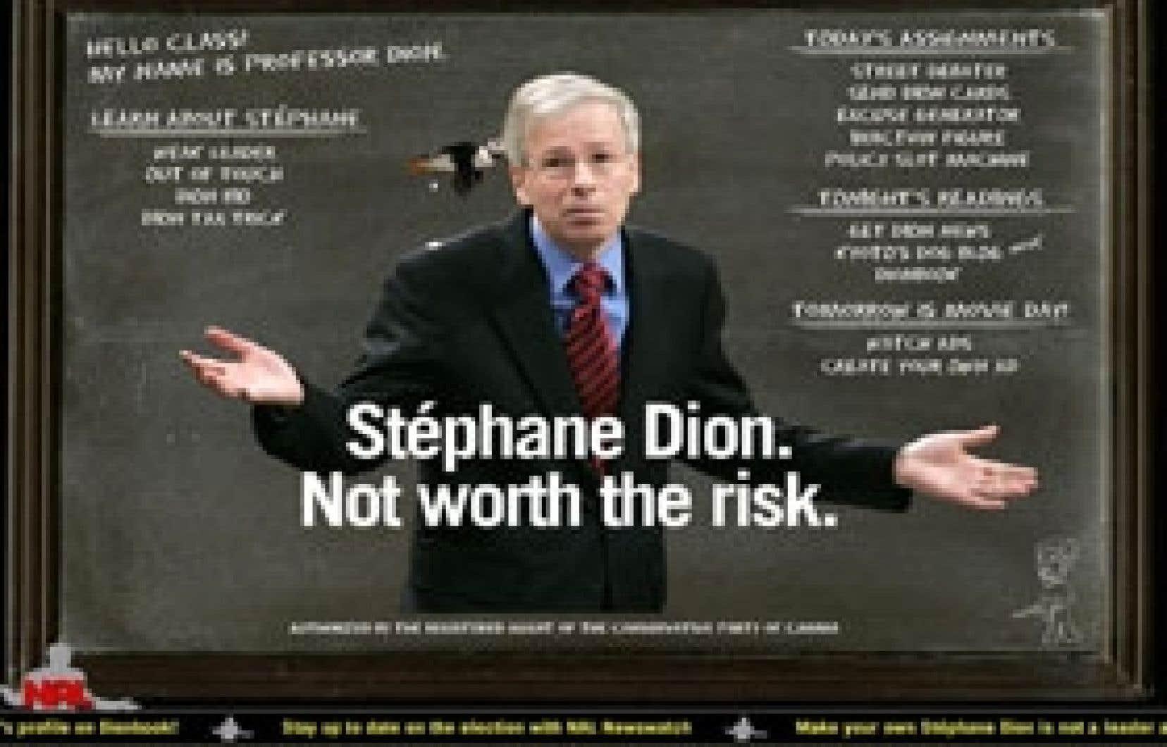 Un oiseau passe et laisse tomber sa fiente dans cette publicité anti-Dion créée sur un site Internet financé par le Parti conservateur. Stephen Harper a présenté ses excuses, et la publicité a été modifiée.