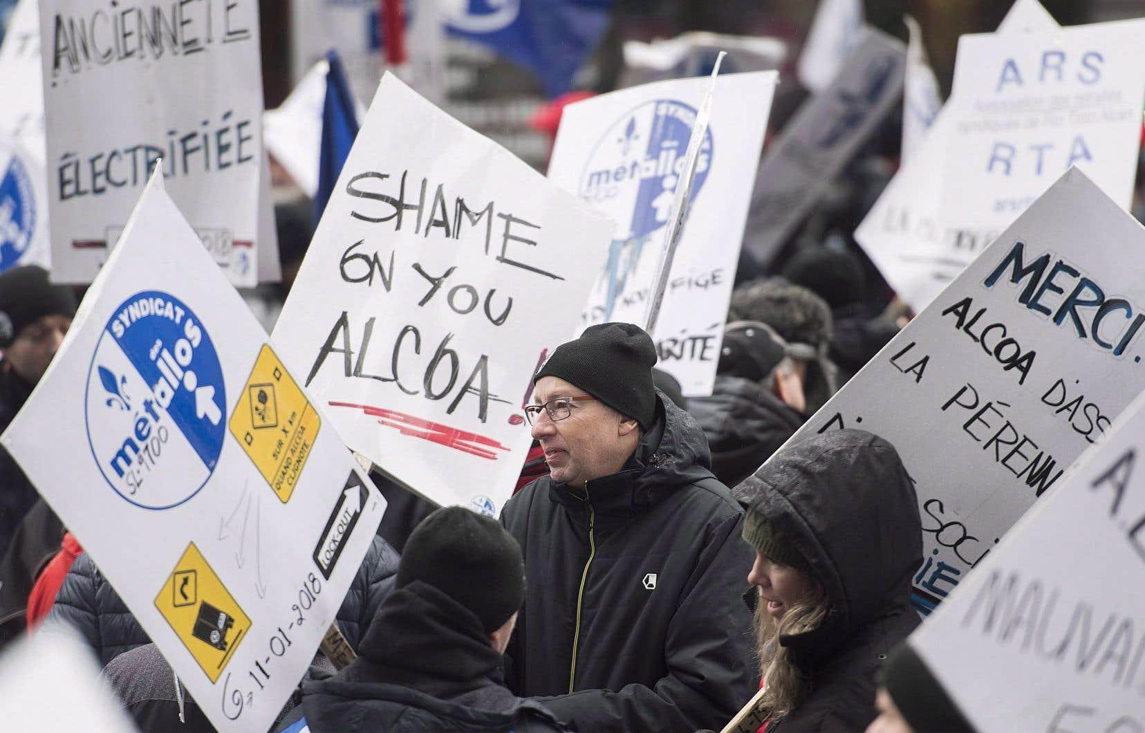 Manifestation des employés d'ABI en lockout, en novembre 2018