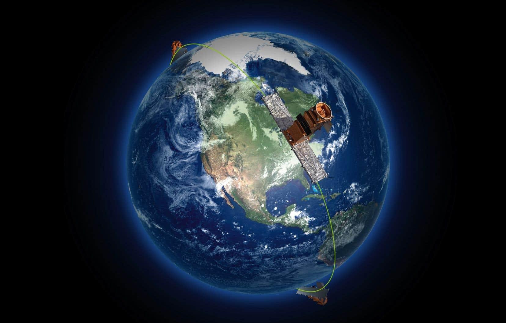 Ces satellites observeront jour et nuit, quelles que soient les conditions météorologiques, l'ensemble du territoire canadien, y compris les océans, ainsi que l'Extrême-Arctique, jusqu'à quatre fois par jour.