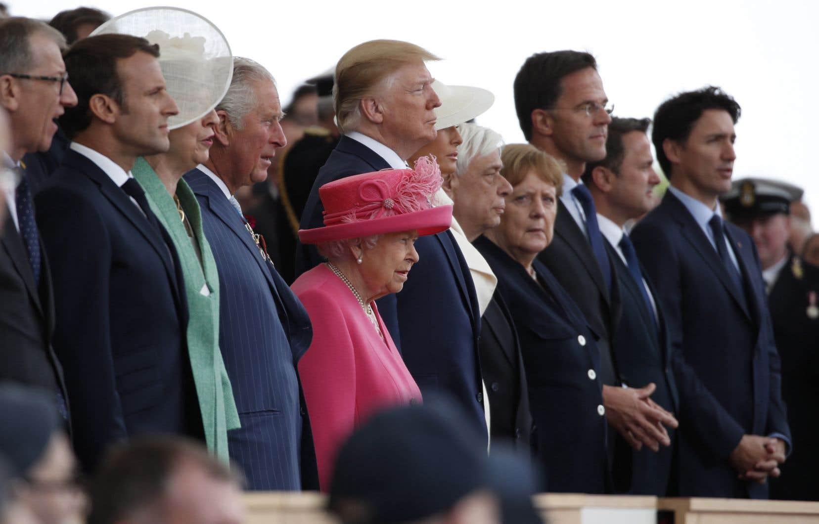<p>Donald Trump, Emmanuel Macron, la reine Elizabeth II, Justin Trudeauet 300 vétérans donnaientle coup d'envoi des célébrations du 75eanniversaire du Débarquement du 6juin 1944.</p>