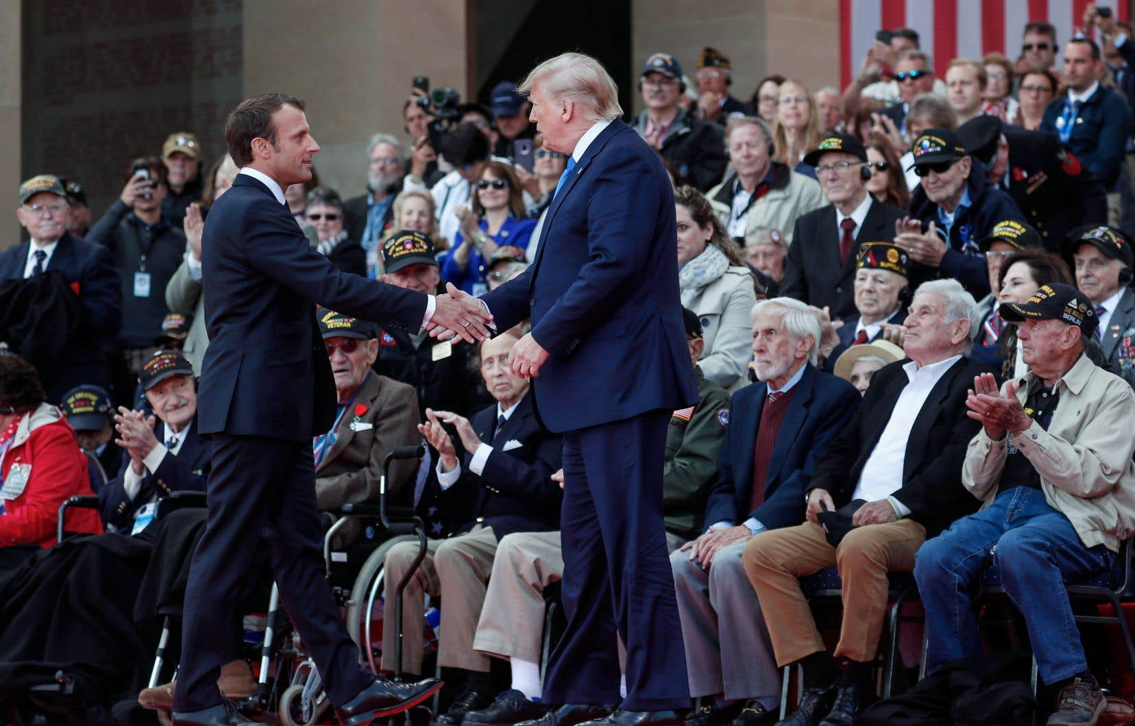 Emmanuel Macron et Donald Trump ont évoqué chacun à leur manière la mémoire de cette journée décisive où se joua le sort de l'Europe.