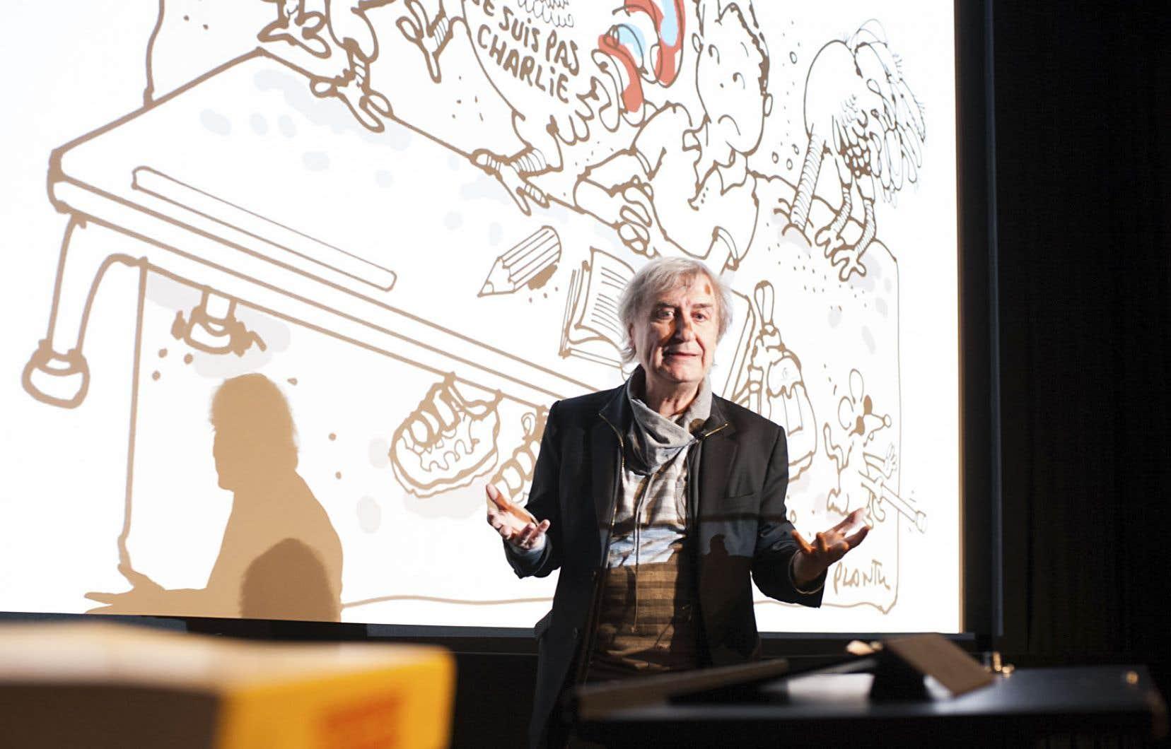 Le dessinateur Plantu était de passage à Montréal en janvier 2016 à l'occasion d'une conférence sur l'apport démocratique de la caricature en société.