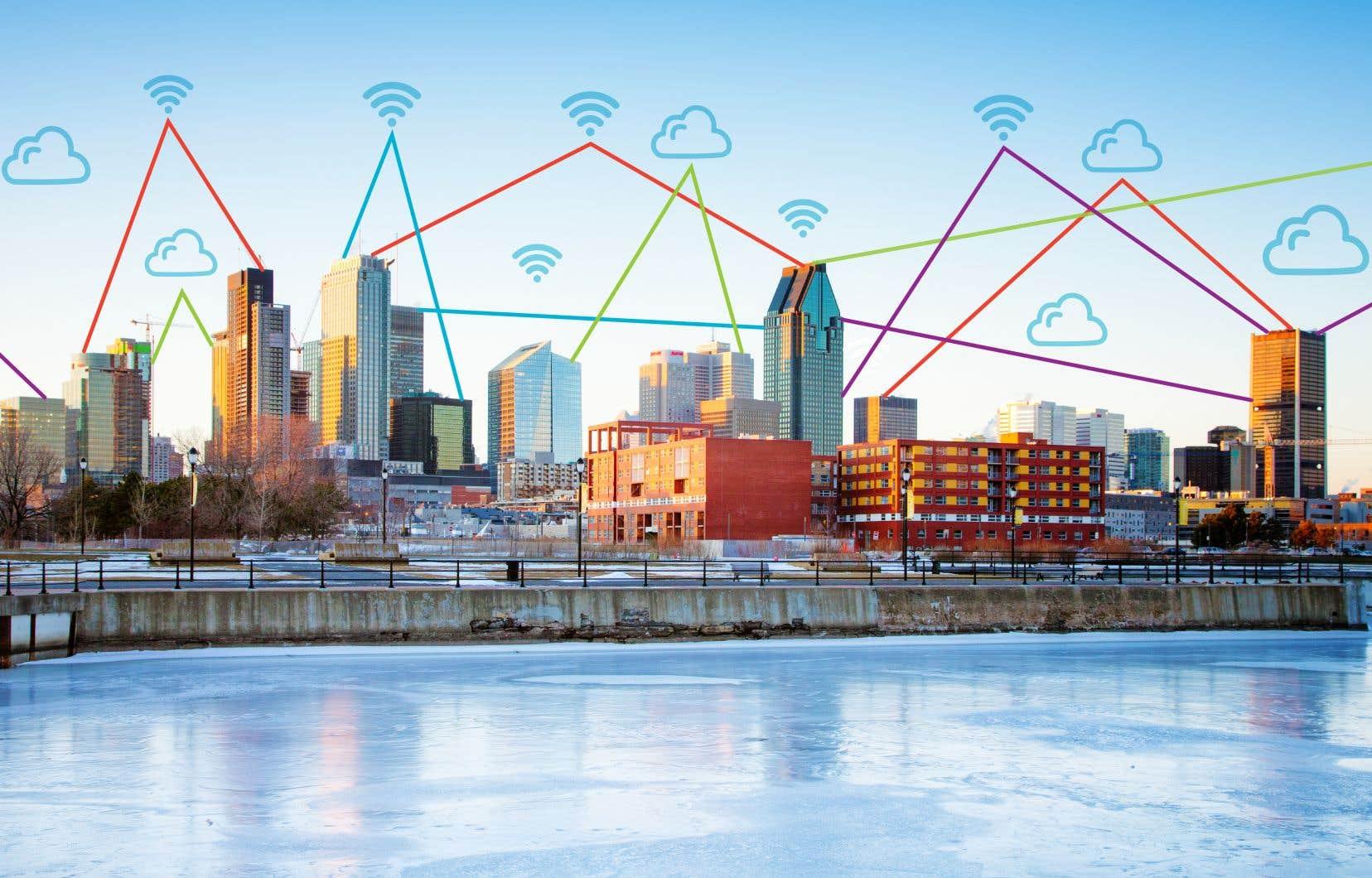 Vue du LabVI, avec le centre-ville de Montréal en arrière-plan