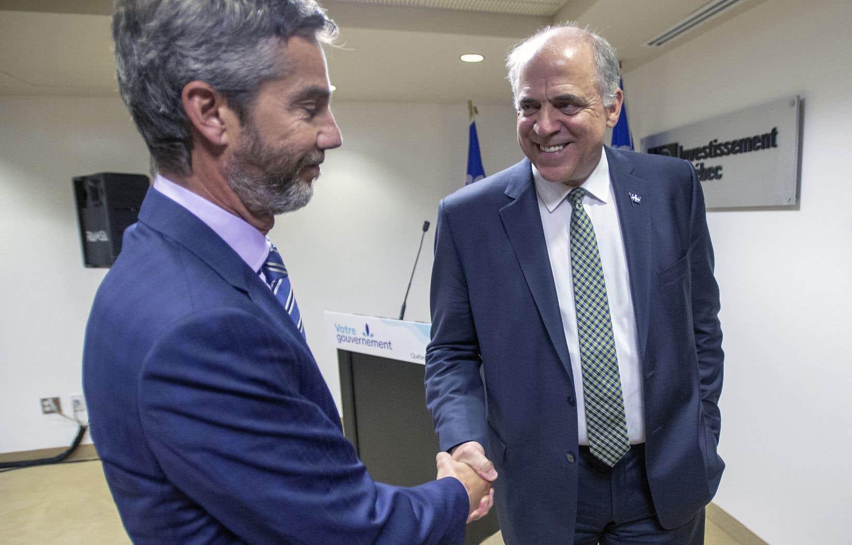 Le p.-d.g. d'Investissement Québec, Guy LeBlanc, et le ministre de l'Économie, Pierre Fitzgibbon