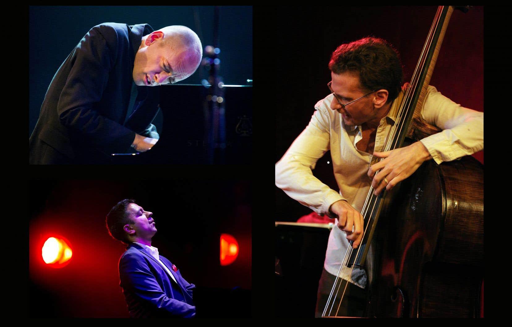 Se produisant chacun à la 40e édition du Festival international de jazz de Montréal, les pianistes Tord Gustavsen (en haut à gauche) et Vijay Iyer (en bas à gauche) ainsi que le contrebassiste Larry Grenadier (à droite) ont tous contribué au rayonnement du label allemand ECM.