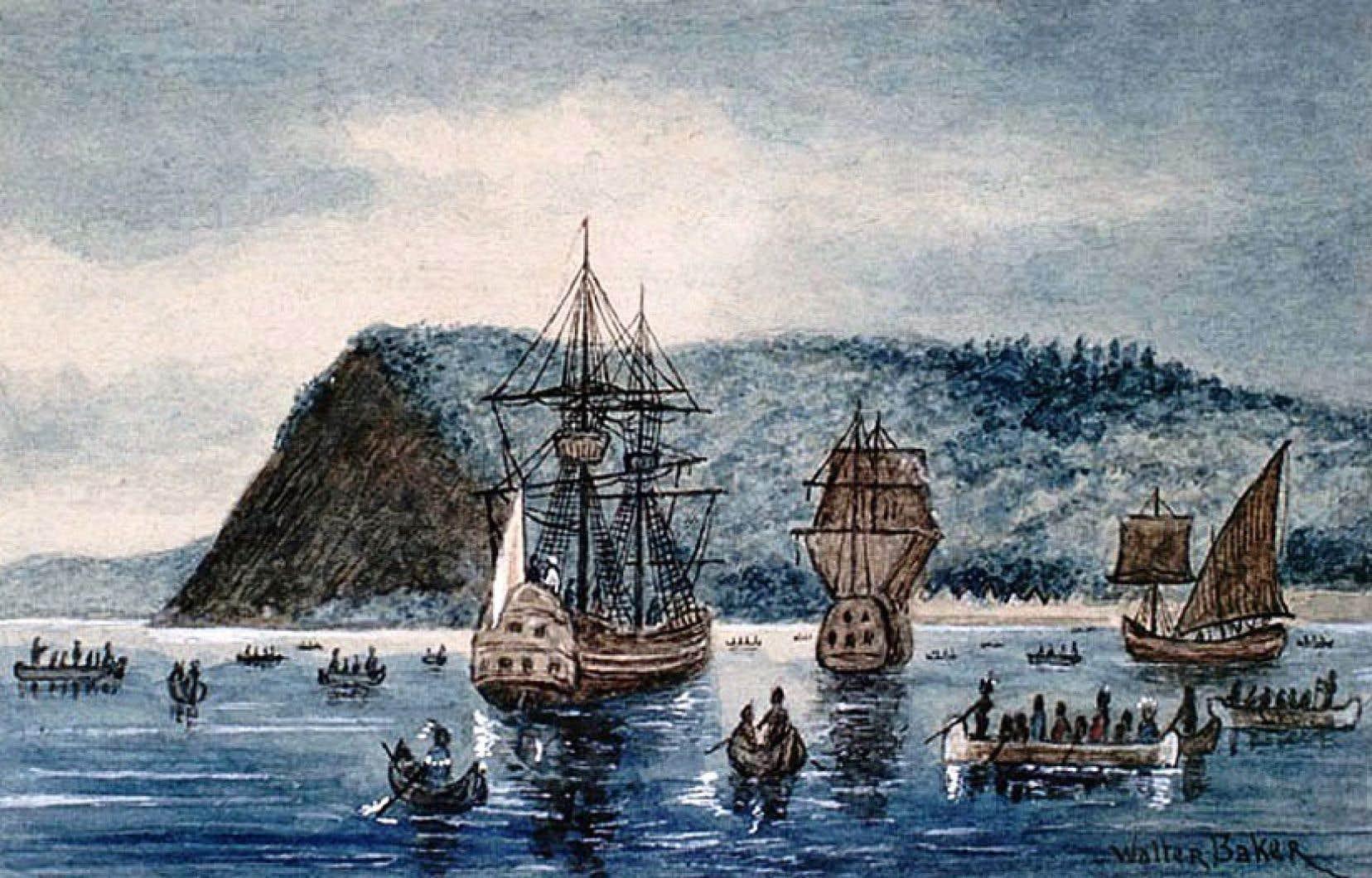 L'arrivée de Jacques Cartier dans le village iroquoien de Stadaconé en 1535