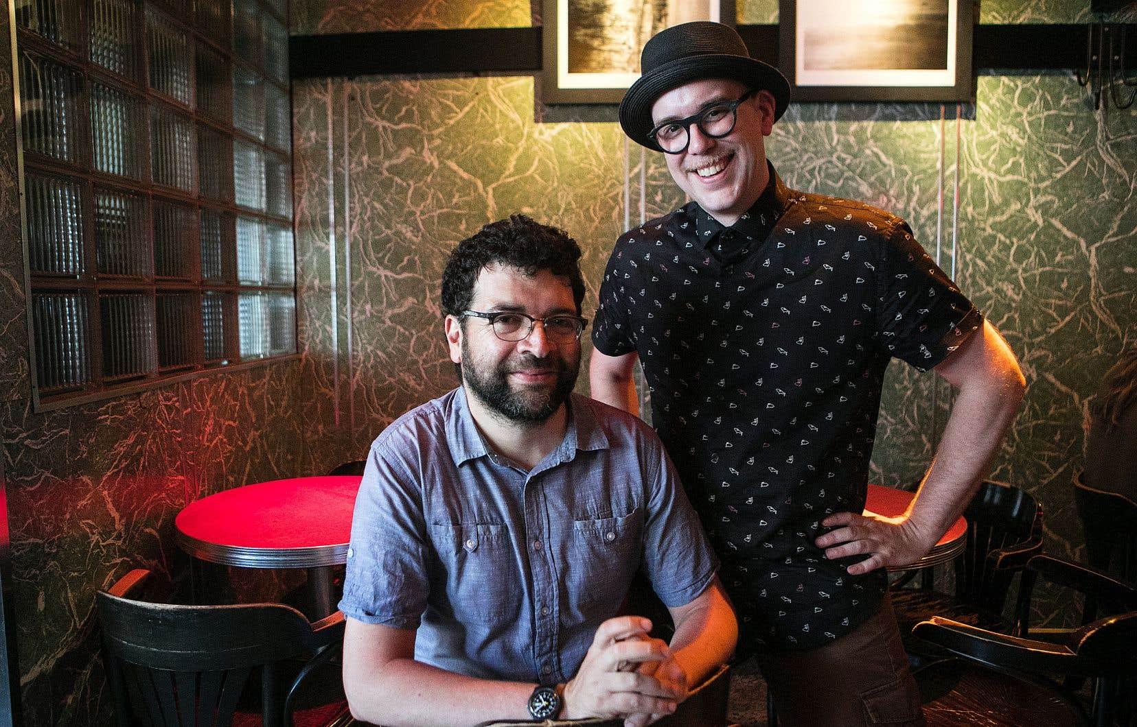 C'est à Victor Simoneau-Helwani (à gauche) et Sébastien Desrosiers, de l'étiquette Trésor National, que l'on doit la ressortie de la bande originale du film «Viens, mon amour».