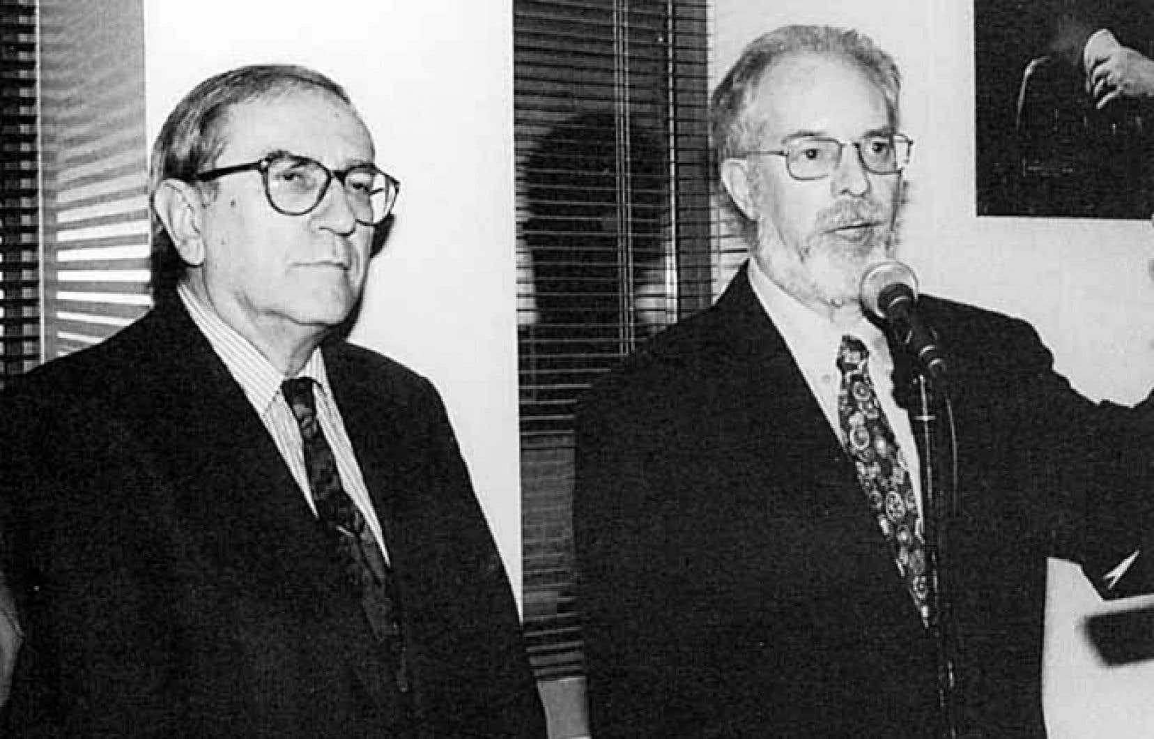 Jean Royer et Gaston Miron lors du 40e anniversaire de la maison d'édition l'Hexagone, qu'il a dirigé durant sa carrière.