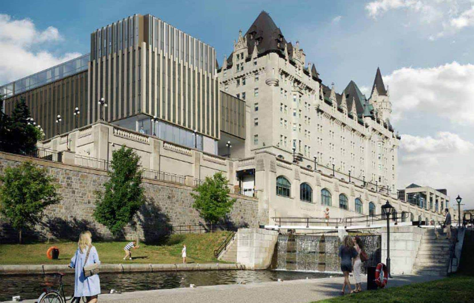 Voilà à quoi ressemblera le Château Laurier lorsque les travaux d'agrandissement auront été réalisés.