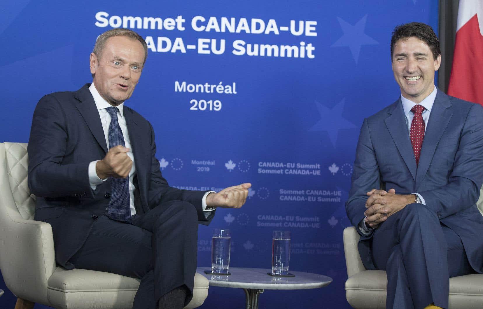 Le premier ministre Justin Trudeau et le président du Conseil européen, Donald Tusk
