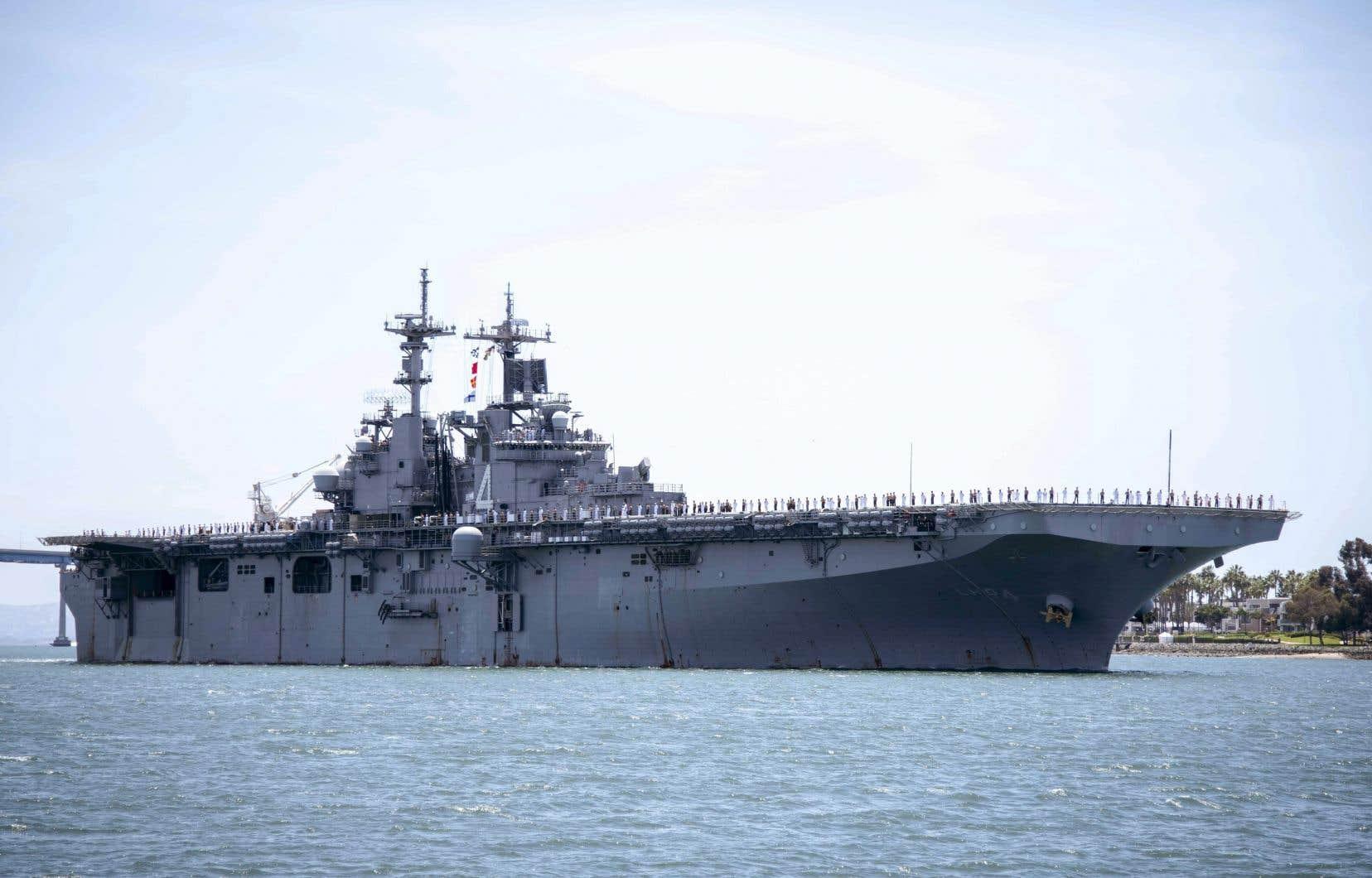 Selon le président Donald Trump, le drone iranien s'est approché à moins de 1000 mètres du navire USS Boxer, qui a entrepris «une action défensive».