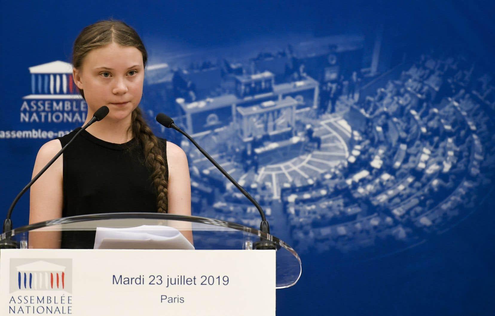 La militante suédoise pour le climat, Greta Thunberg, a pris la parole lors d'une réunion à l'Assemblée nationale française, à Paris, le 23 juillet 2019.