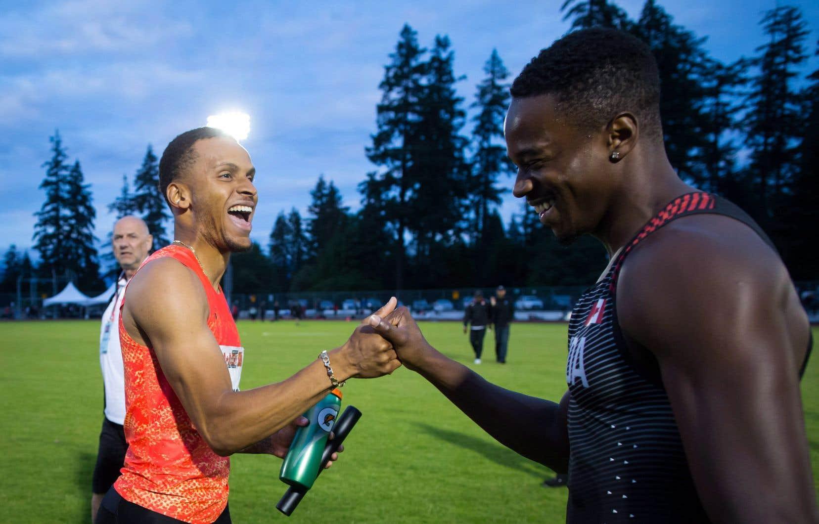 Andre De Grasse (à gauche) et Aaron Brown vont s'affronter aux Championnats canadiens d'athlétisme, vendredi à Montréal.