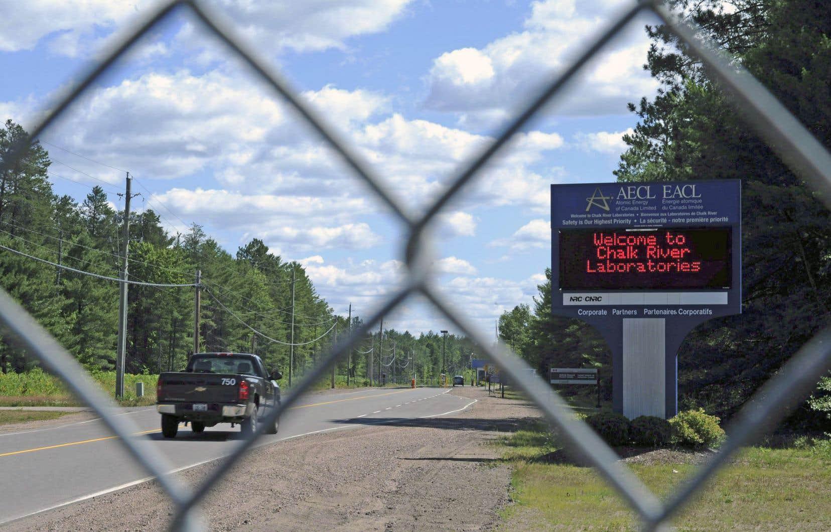 L'entrée du laboratoire de Chalk River sur lequel on veut implanter un dépotoir de déchets nucléaires.