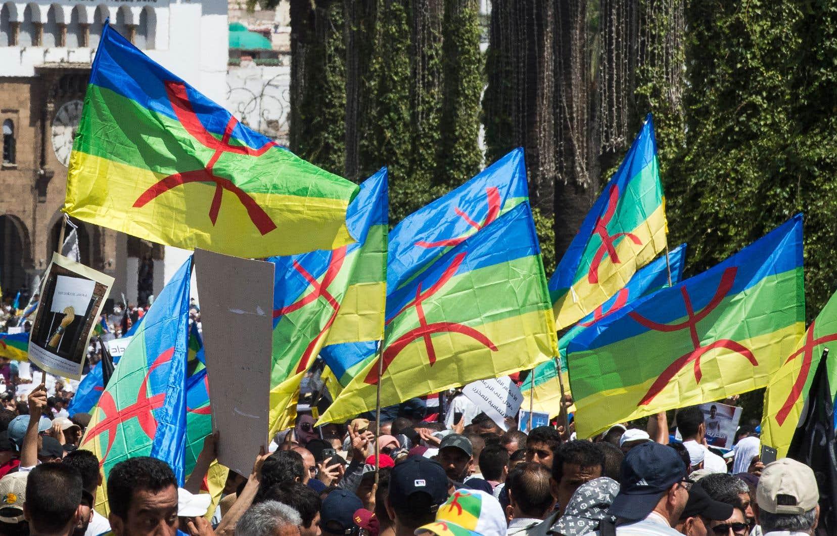 De très nombreux drapeaux berbères sont apparus à côté des drapeaux algériens lors de récentes manifestations en Algérie.