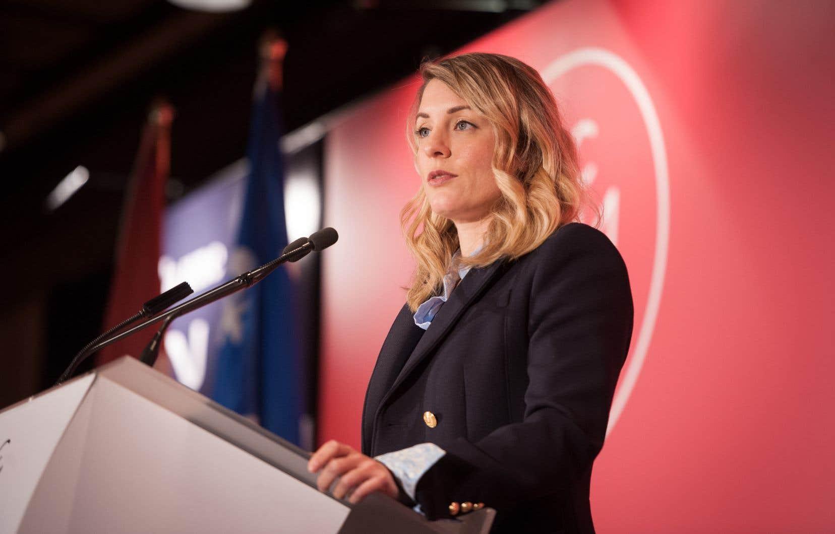 La ministre fédérale Mélanie Joly en 2017. Le Canada s'était engagé, en octobre dernier, à appuyer la création d'une plateforme francophone qui réunirait les diffuseurs publics de TV5MONDE et ainsi renforcer la place du français dans le monde numérique.