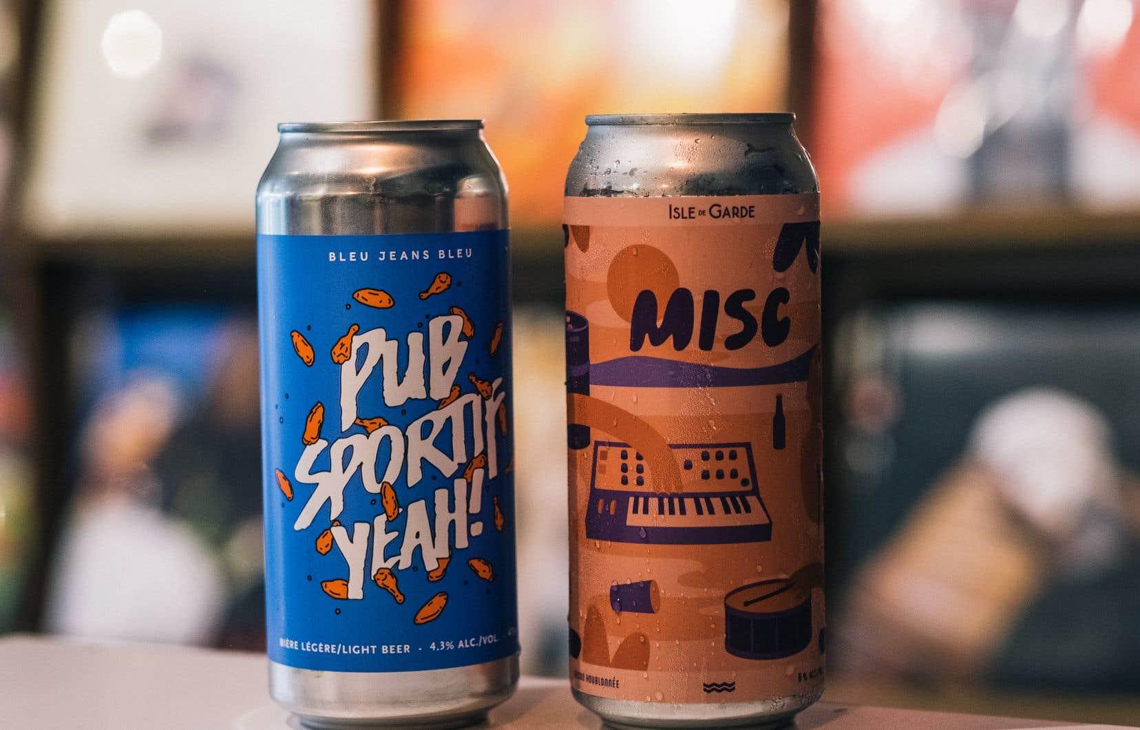 Les bières MISC, de l'Isle de Garde, et Pub sportif Yeah! de Bleu Jeans Bleu