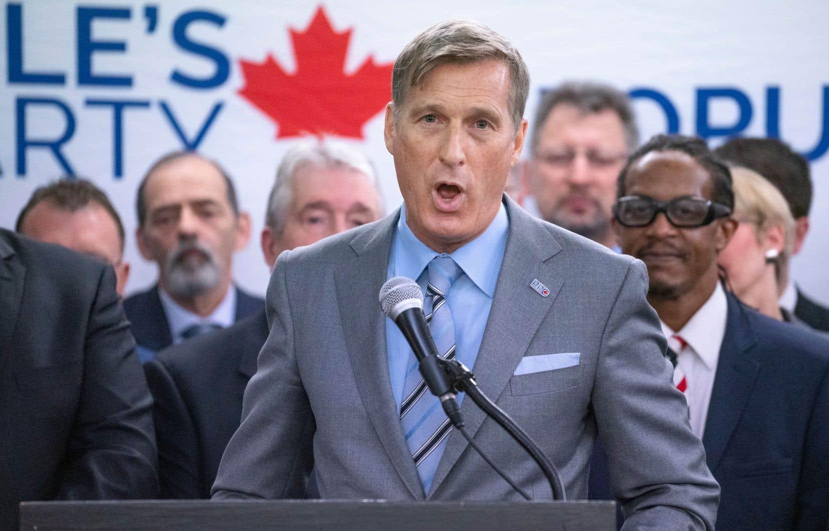 Le chef du Parti populaire, Maxime Bernier, lors de la présentation de certains des candidats de son parti au Québec.