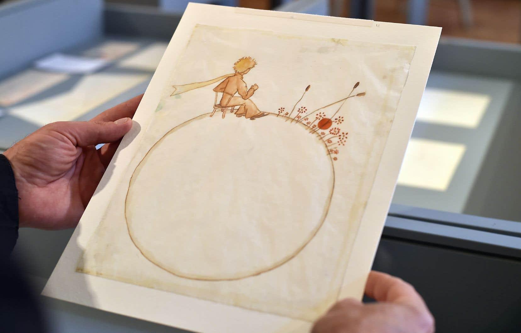 Photo d'archive d'un dessin d'Antoine de Saint-Exupéry, présenté au musée du Vieux-Toulouse, en France, en mai 2017.