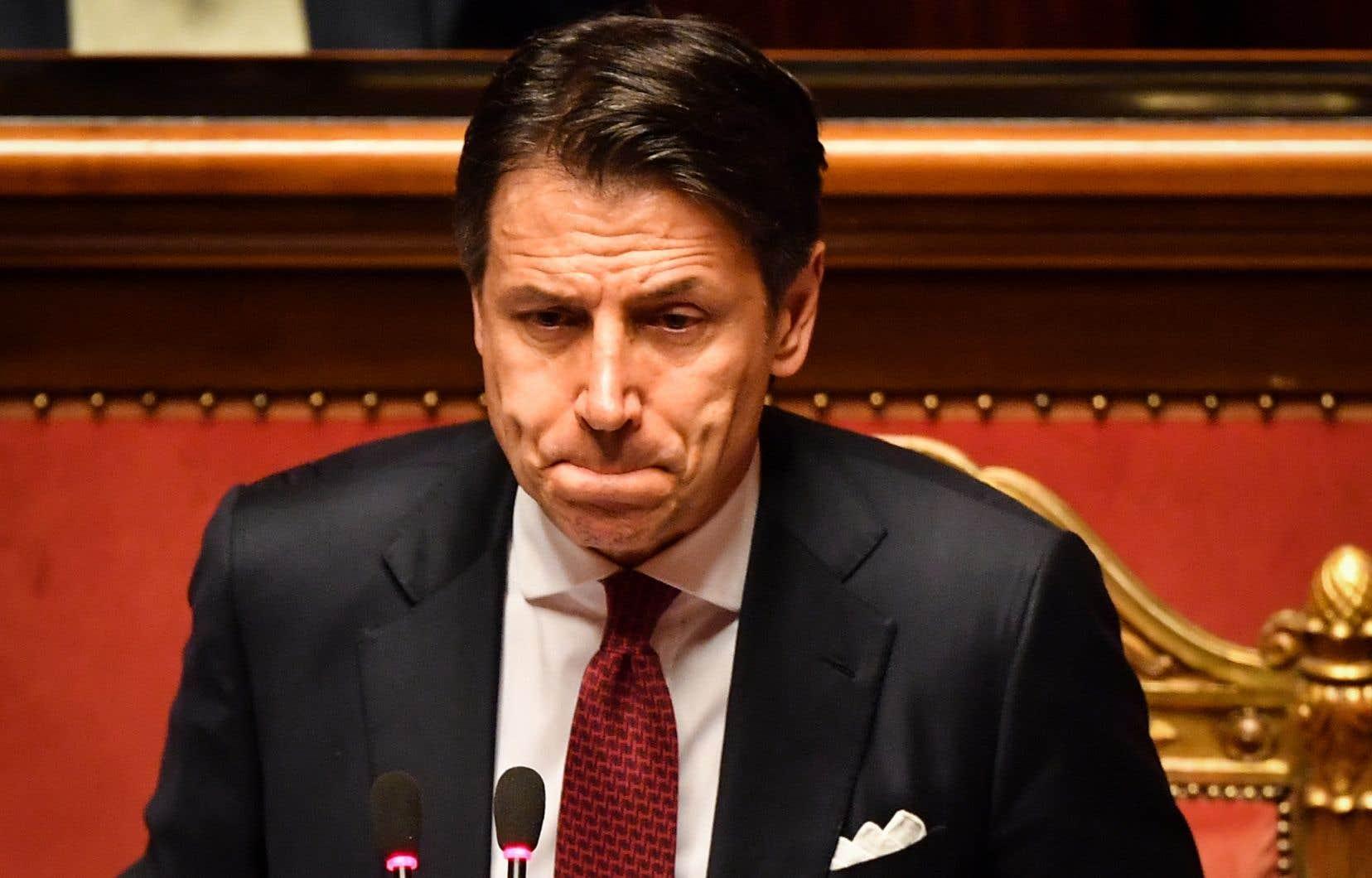 Giuseppe Conte a livré au Sénat un discours virulent contre son ancien allié MatteoSalvini.
