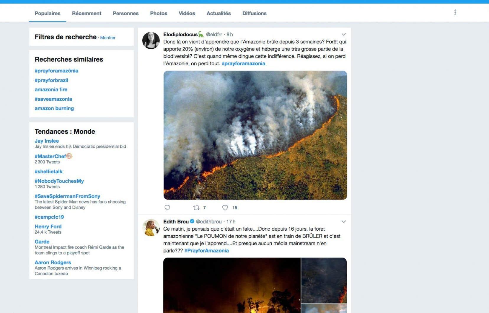 La première tendance mondiale sur Twitter mercredi était le mot-dièse #PrayForAmazonas. Cela a donné lieu à la publication de nombreuses images n'ayant aucun rapport avec les feux actuels en Amazonie.