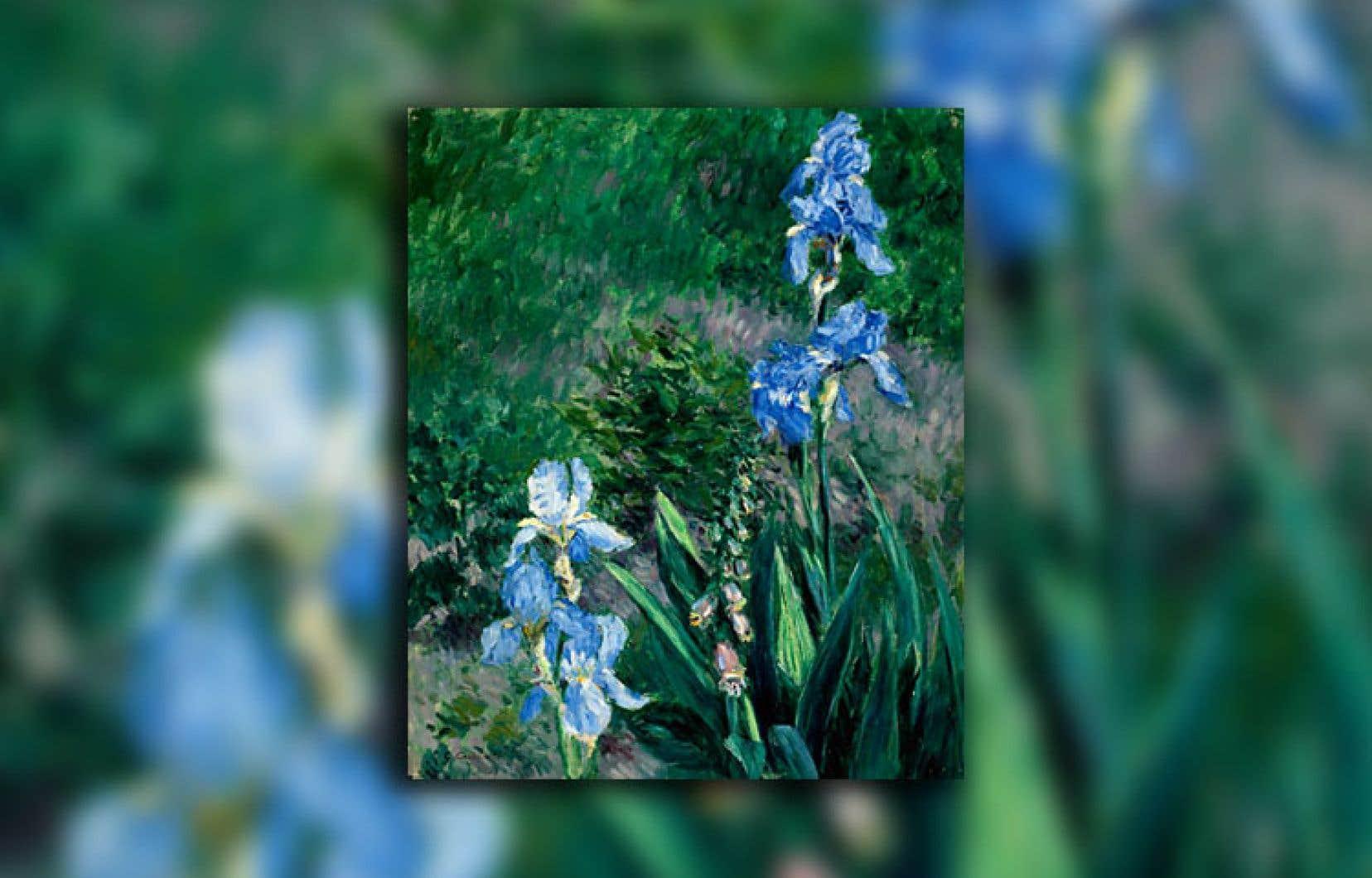 Le tableau «Iris bleus, jardin du Petit Gennevilliers» (détail)