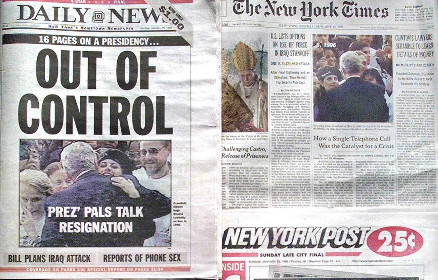Durant plusieurs mois, la presse américaine a largement couvert le scandale entourant le président Clinton.