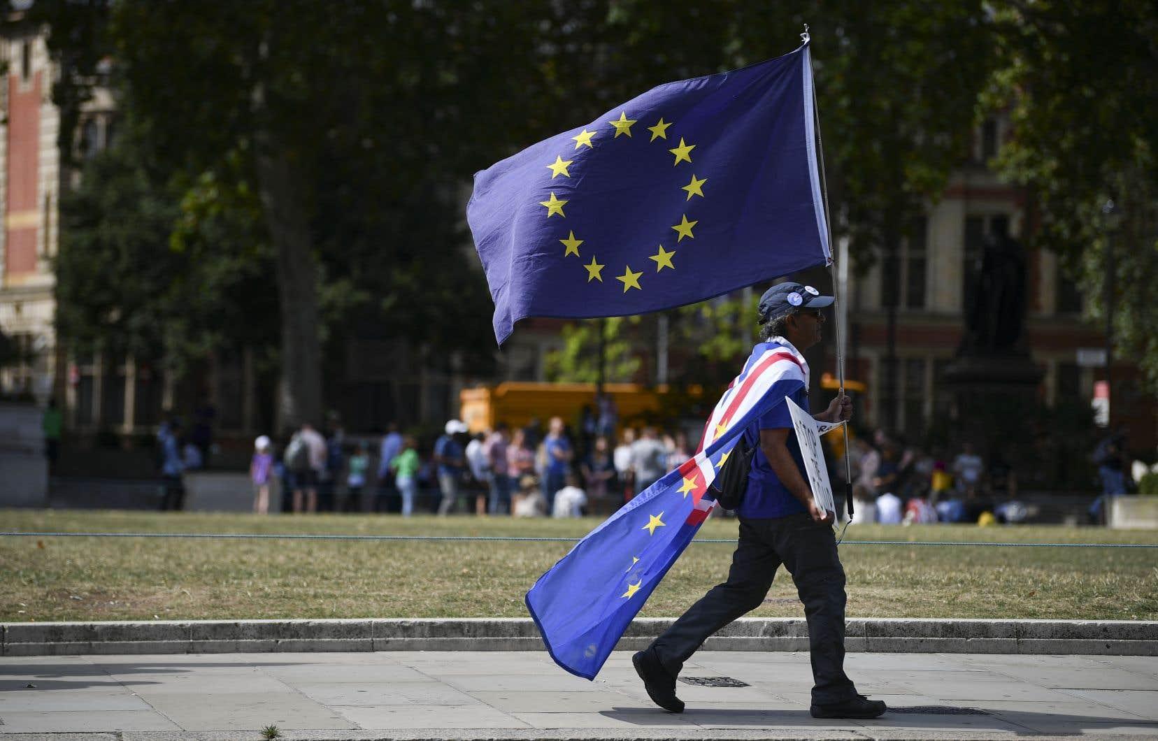 Un manifestant pro-européen devant le Parlement britannique, à Londres, jeudi