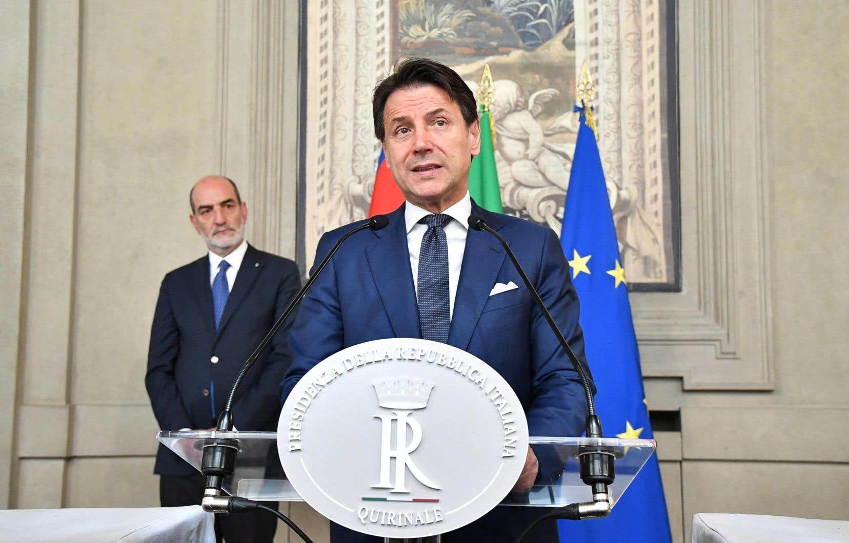 Le premier ministre italien sortant, Giuseppe Conte, jeudi à Rome