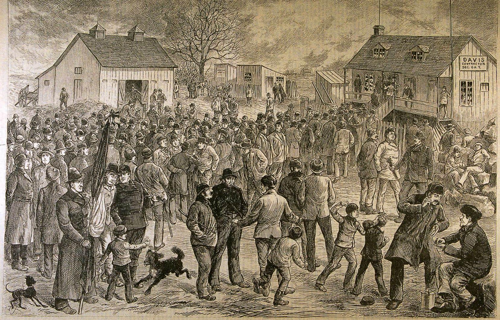 Illustration de Henri Julien représentant la grève des ouvriers du canal Lachine, publiée dans «L'Opinion publique» le 10 janvier 1878.