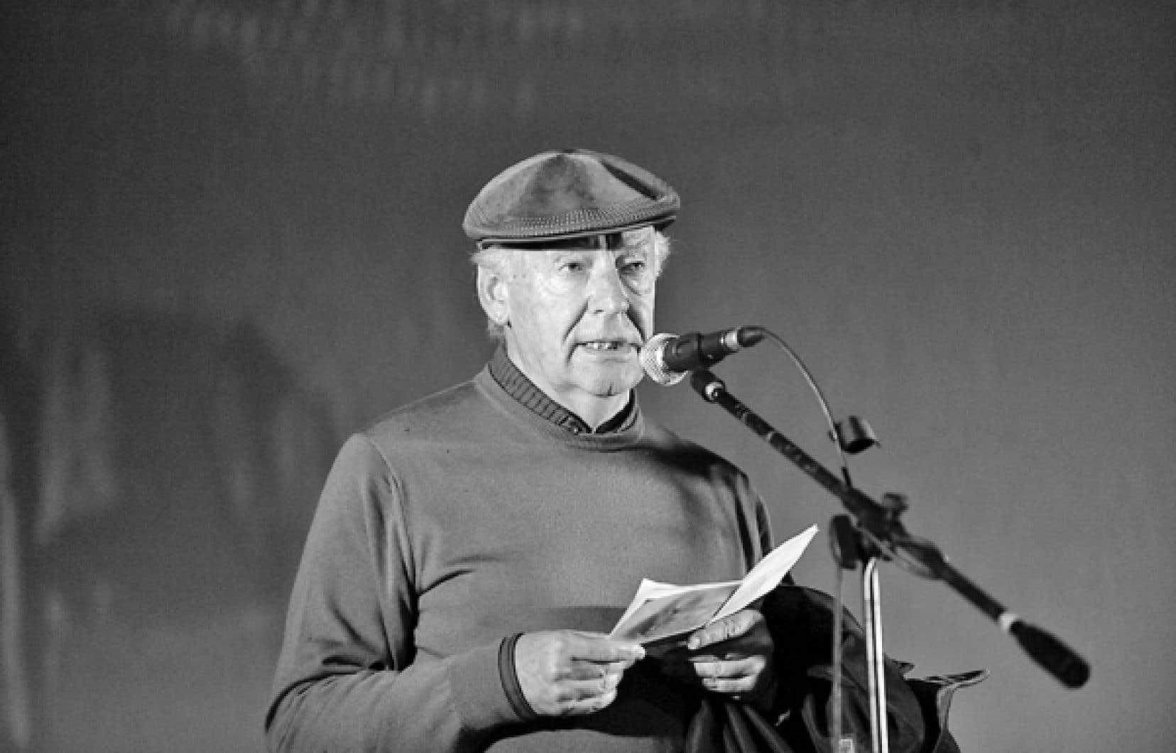 L'écrivain uruguayen Eduardo Galeano photographié en octobre 2009, lors d'un discours prononcé à Montevideo<br />