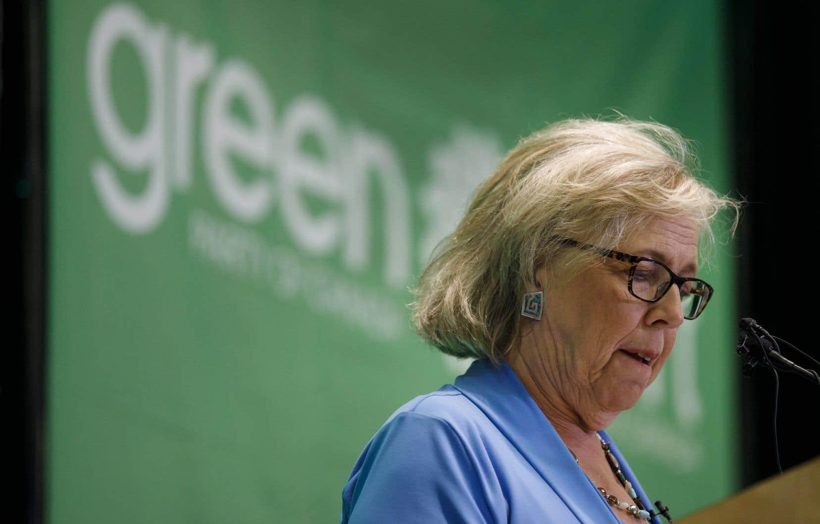 Elizabeth May a appelé M.Trudeau, M.Scheer, M.Singh et M.Blanchet à «refuser de participer [au débat de TVA] à moins que tous les chefs en fassent partie».