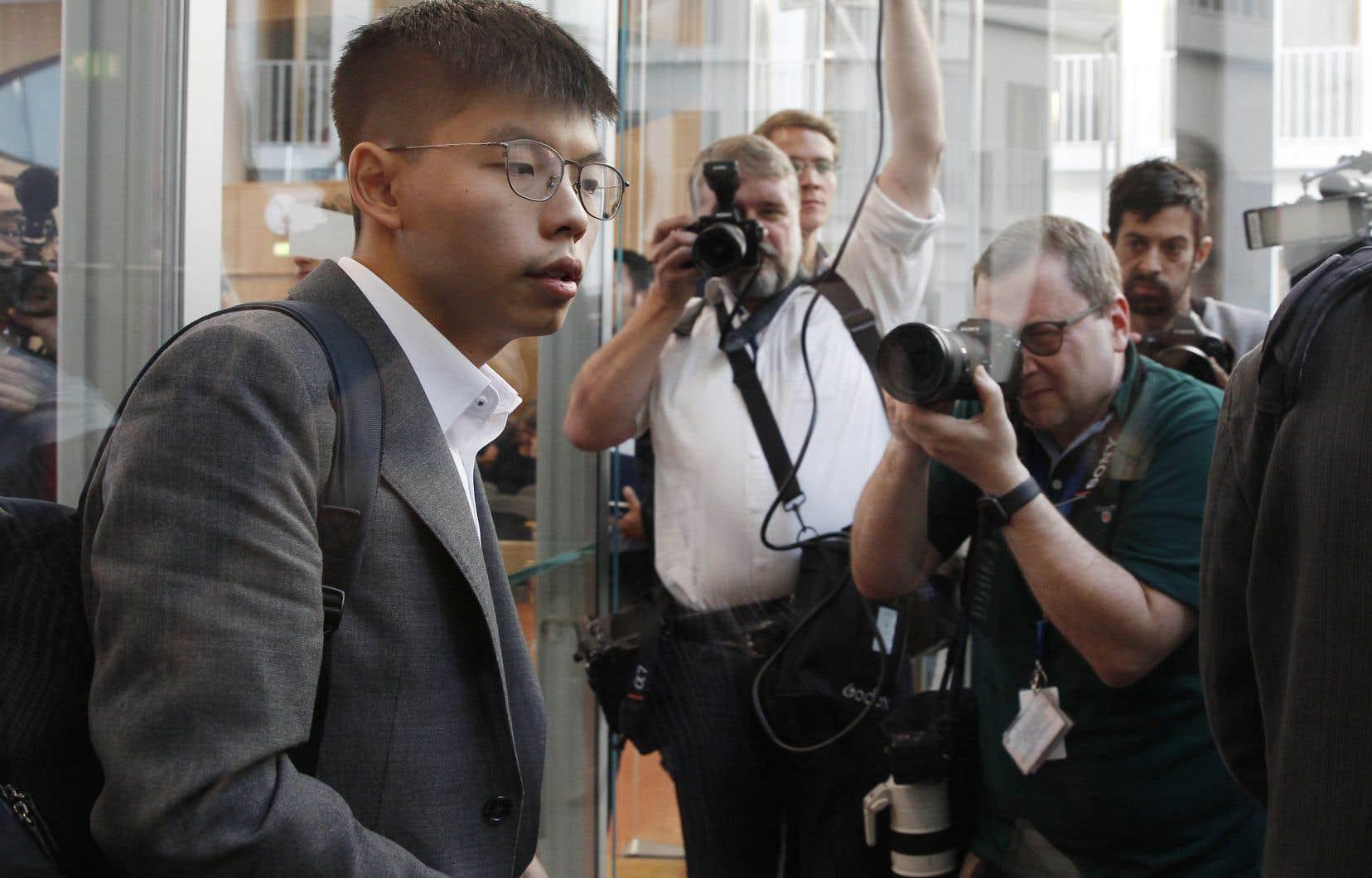 Joshua Wong a notamment demandé à l'Allemagne de stopper la vente de matériel antiémeute à la police de Hong Kong.