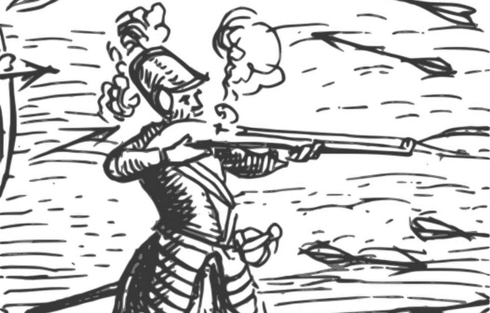 Détail de «Deffaite des Yroquois au Lac de Champlain», repris de l'oeuvre «Voyages de Champlain» (1613). Cet autoportrait est la seule image contemporaine de l'explorateur.