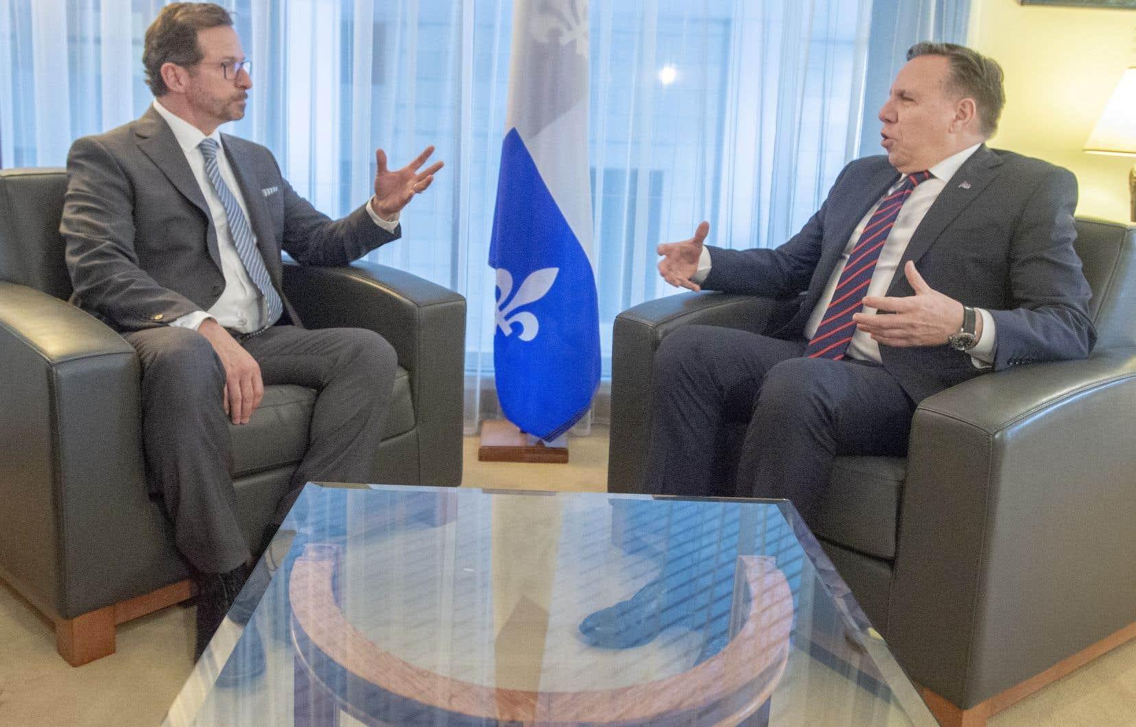 Le chef du Bloc québécois, Yves-François Blanchet, et le premier ministre François Legault