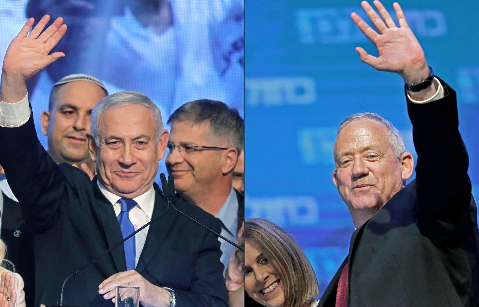 Avec plus de 90% des bulletins de vote dépouillés, le parti de Benjamin Nétanyahou (à gauche), le Likoud, était toujours à égalité avec la formation centriste de Benny Gantz, Kahol Lavan (le parti Bleu-Blanc), avec respectivement 31 et 32 sièges, sur les 120 qui composent la Knesset. En avril dernier, les deux partis avaient récolté exactement le même suffrage, 26%, et le même nombre de sièges, 35 chacun.
