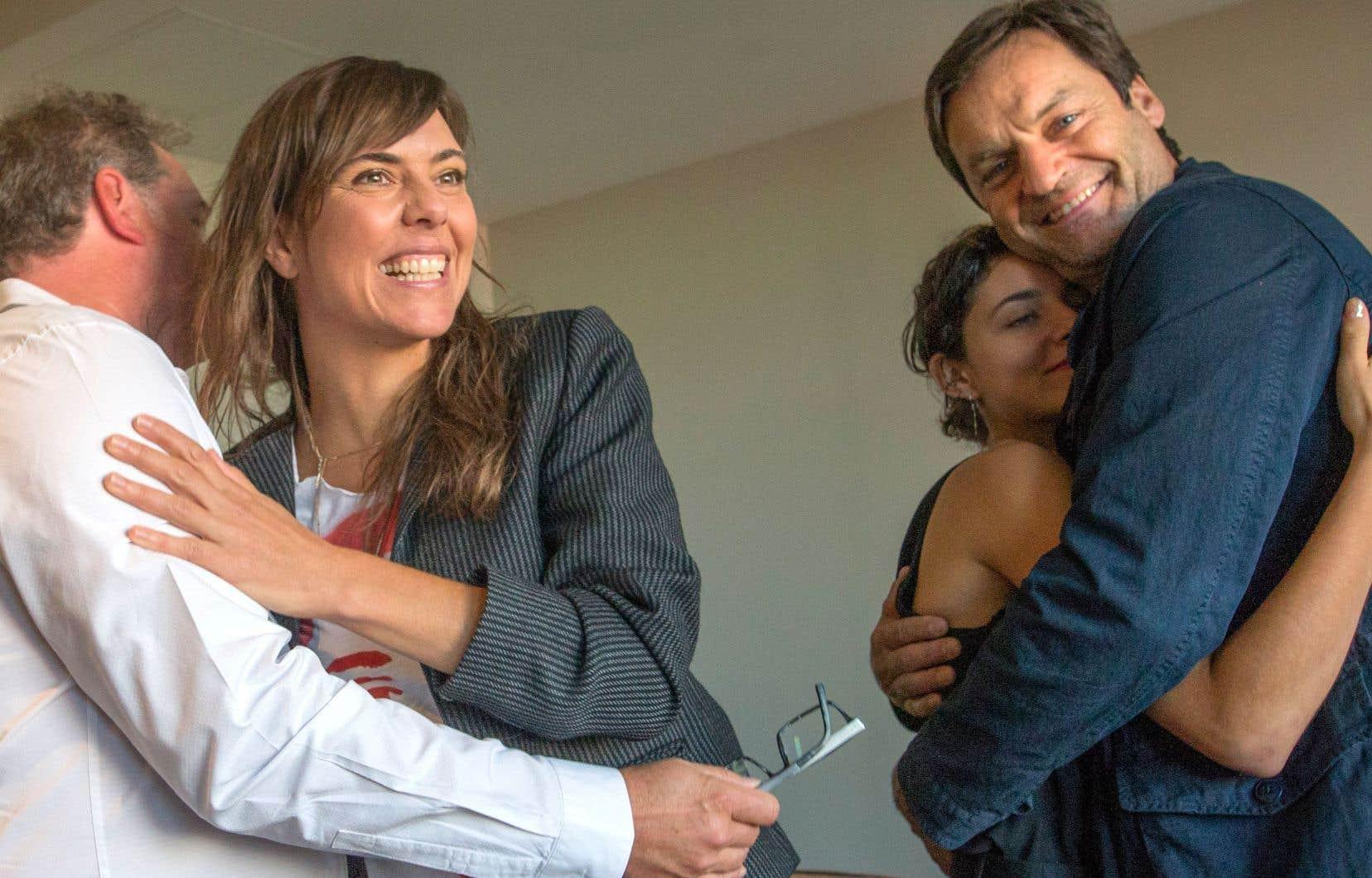 Le film «Antigone» prendra officiellement l'affiche au Québec le 8novembre. Sur la photo, la réalisatrice Sophie Deraspe (à gauche), vendredi, en compagnie de son équipe.