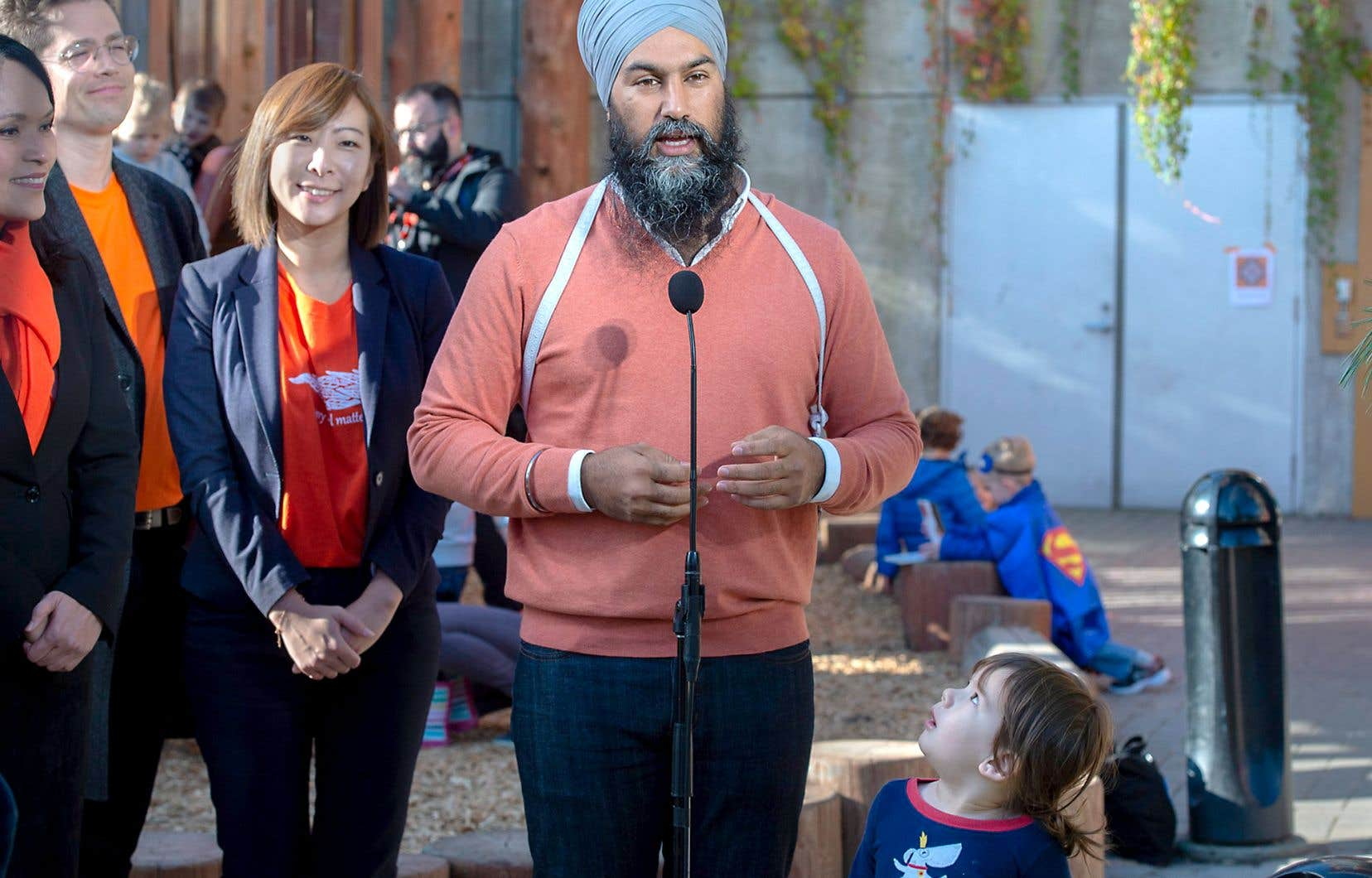 Le chef néodémocrate, Jagmeet Singh, lors d'une annonce à Vancouver, lundi.