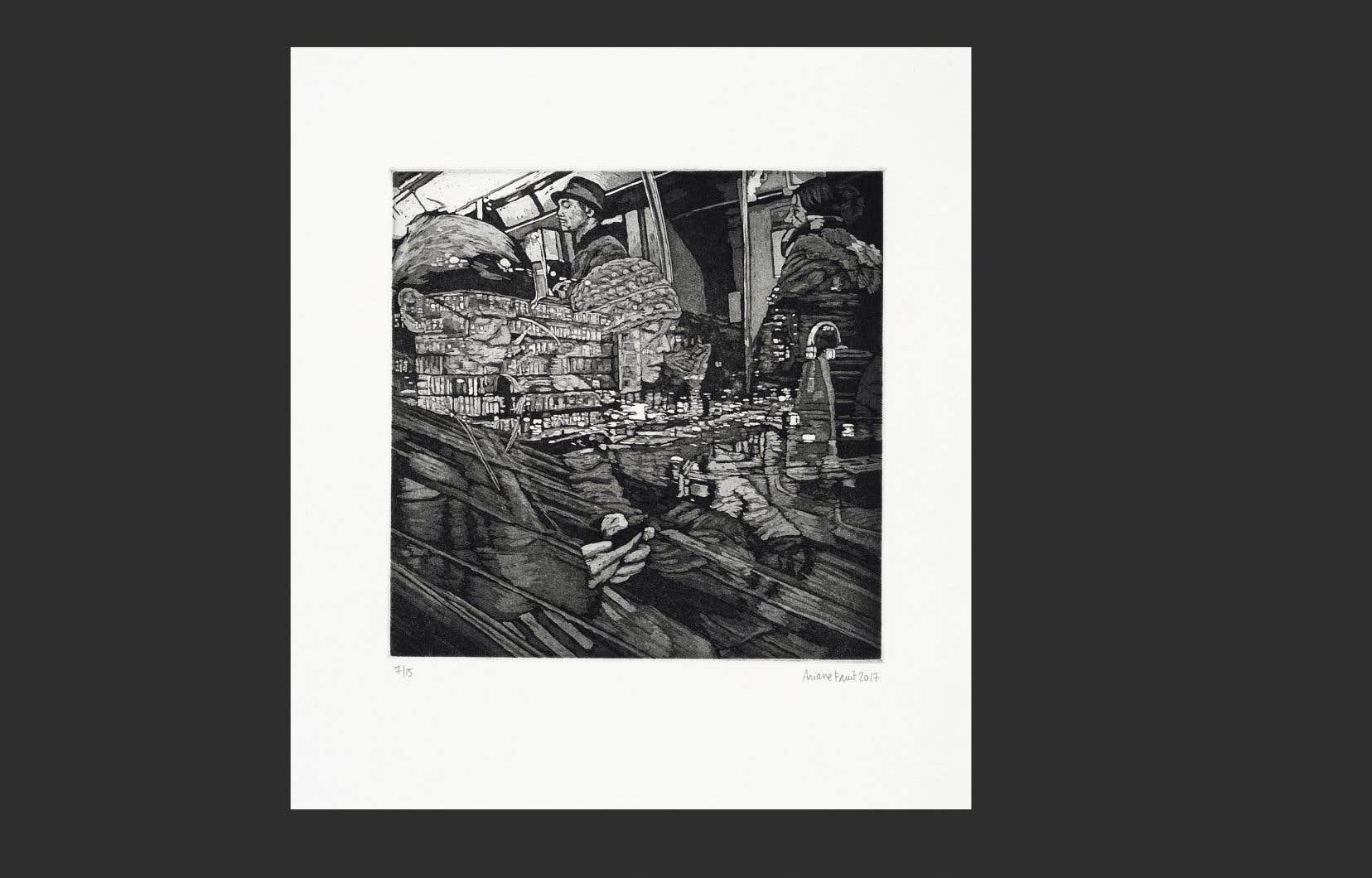 «Scène de crime», l'œuvre la plus récente d'Ariane Fruit, a été gravée à même le sol du studio de l'artiste, inspirée des images de scènes de crime du XIXe siècle.