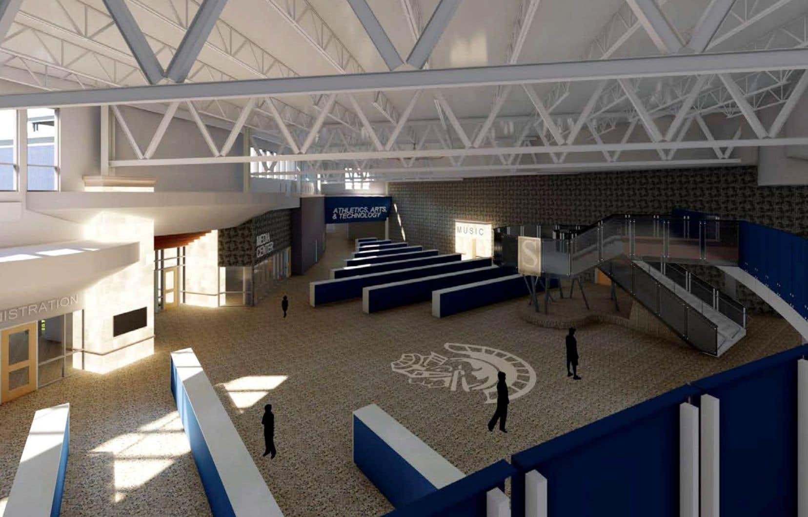 La future école secondaire de Fruitport aura dans son hall d'entrée des murets de béton pour permettre aux élèves de se protéger d'un éventuel tireur.