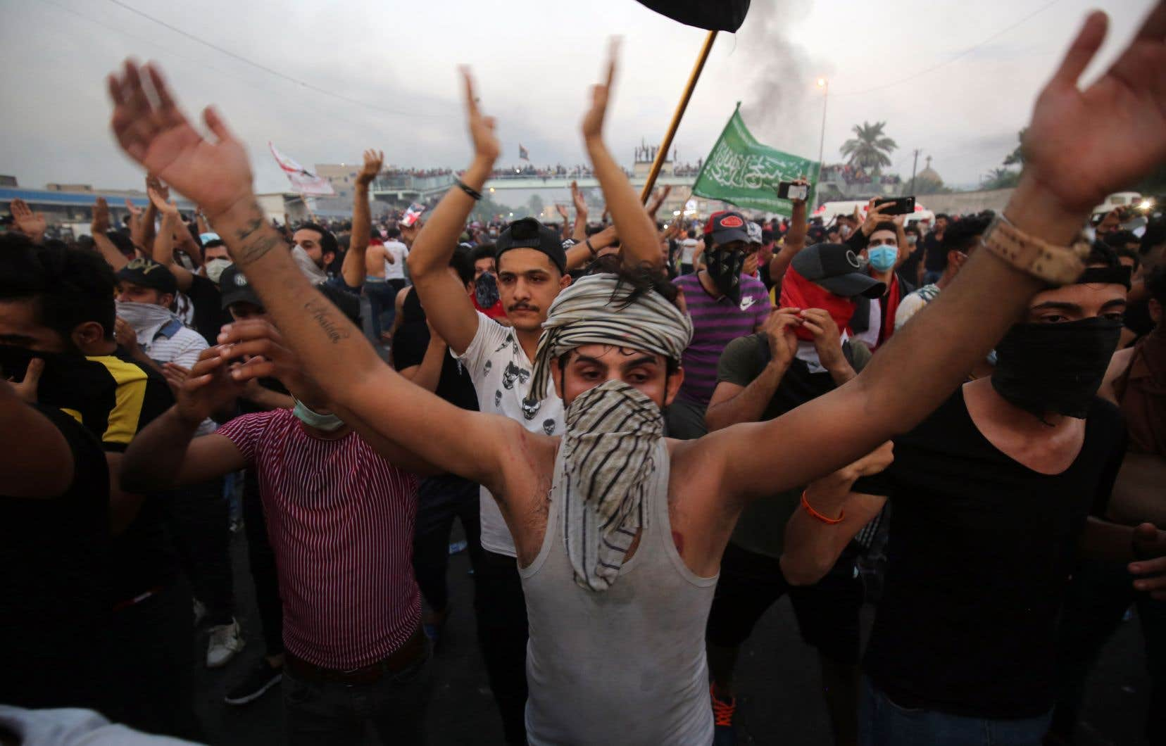 Manifestants et policiers étaient principalement face-à-face aux abords de l'emblématique place Tahrir à Bagdad.