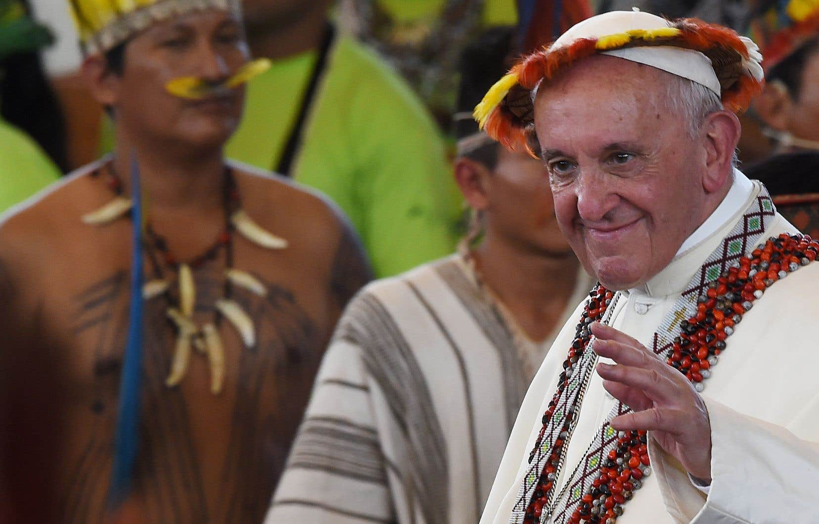 Le pape François lors d'une visite au Pérou en 2018