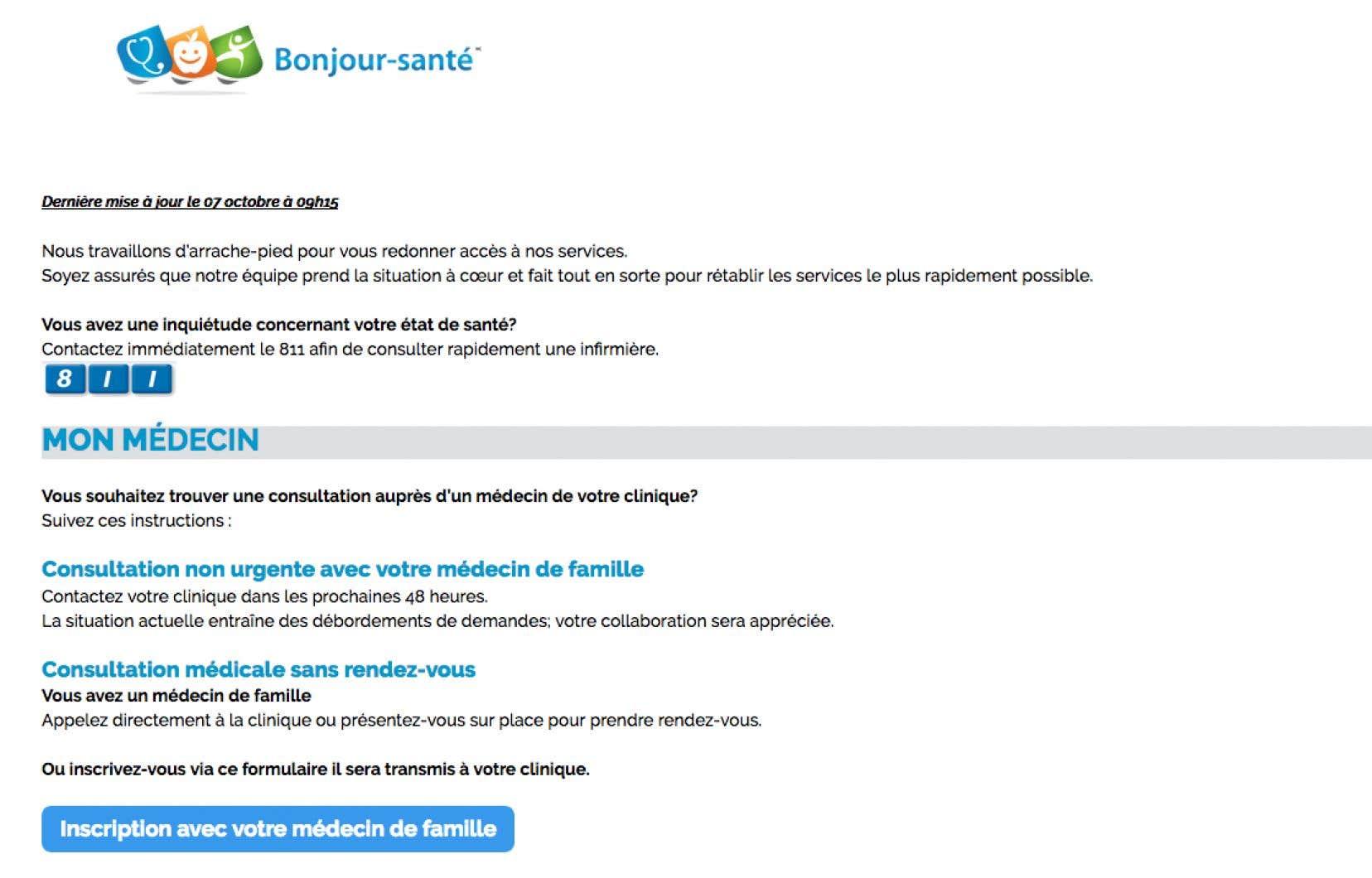 Le site web Bonjour-santé est en panne depuis dimanche matin.