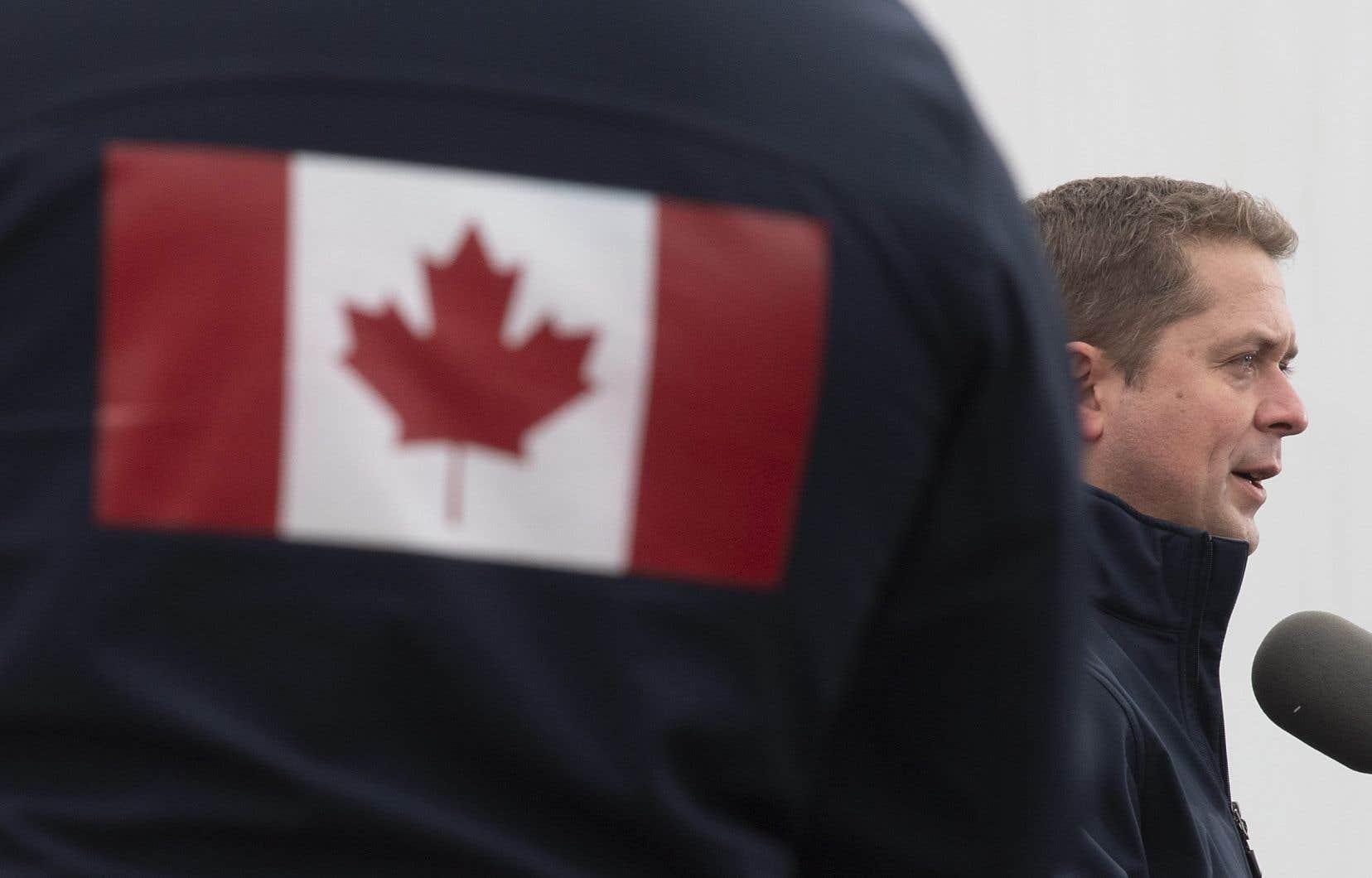 Le chef conservateur, Andrew Scheer, a prononcé un discours devant ses partisans à Brampton, en Ontario, jeudi.