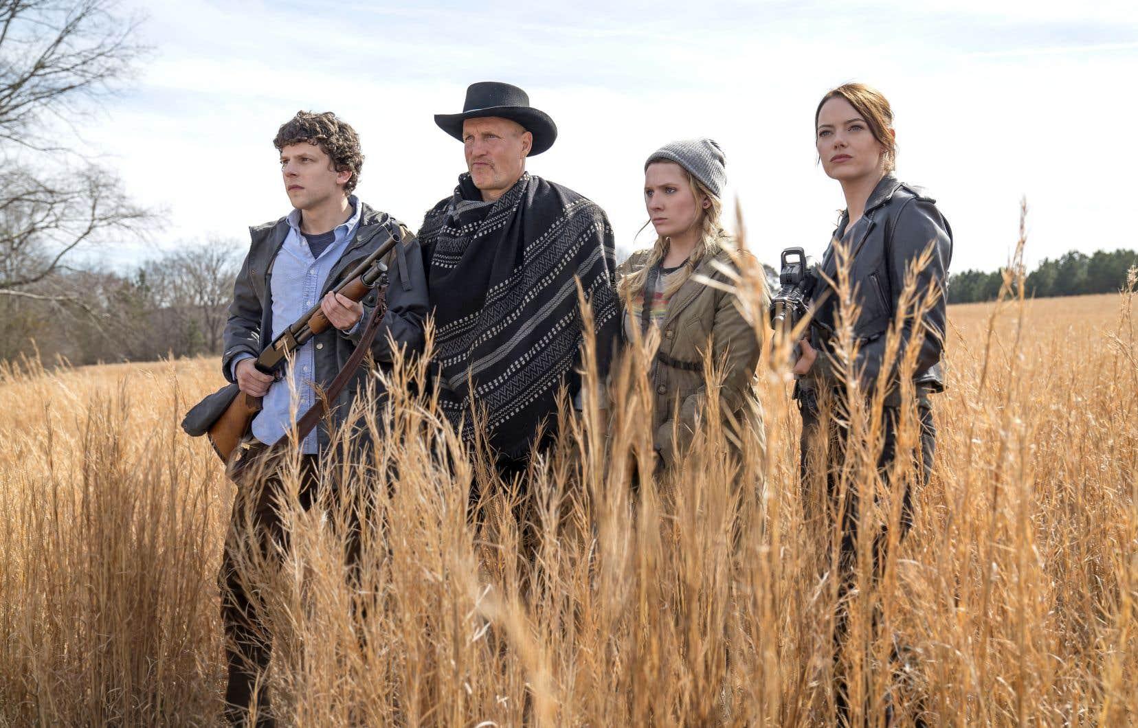 Les survivants Jesse Eisenberg, Woody Harrelson, Abigail Breslin et Emma Stone reprennent leurs aventures dans un monde parsemé de cadavres ambulants dans «Zombieland. Le doublé», à l'affiche dès vendredi.