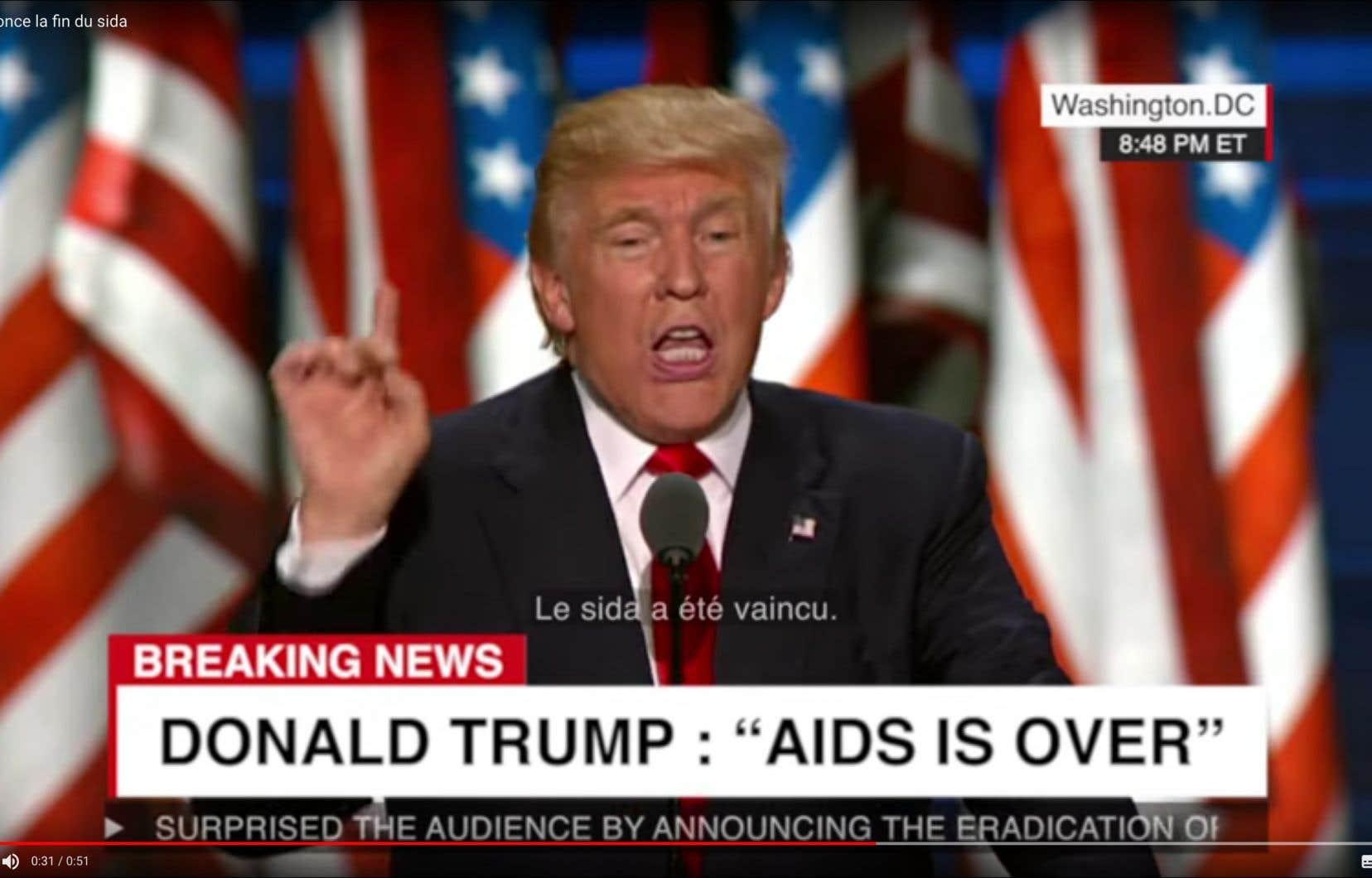 Il y a quelques jours, l'ONG Solidarité Sida a mis en ligne une vidéo truquée dans laquelle le président Trump annonce que le sida a été complètement enrayé.