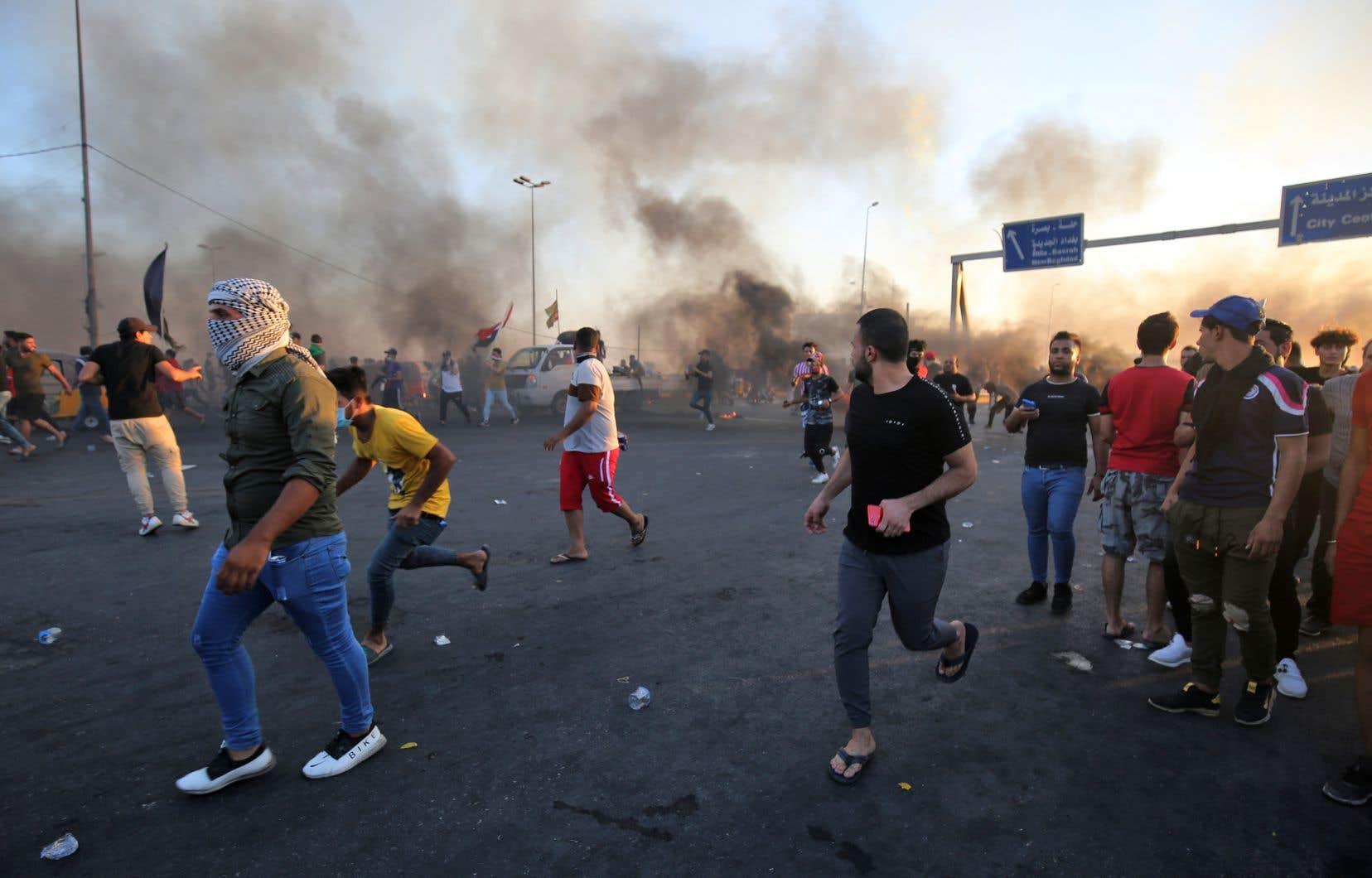 Des violences éclatent durant une manifestation contre le gouvernement irakien à Bagdad, le 5 octobre dernier.